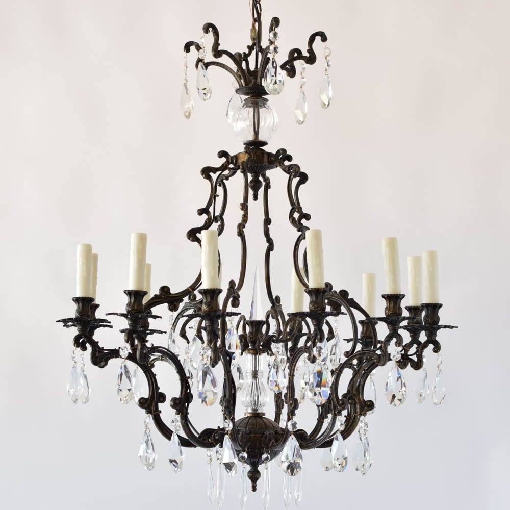Italian Rococo Bronze Chandelier With Crystal The Big Chandelier In Bronze And Crystal Chandeliers (View 13 of 15)