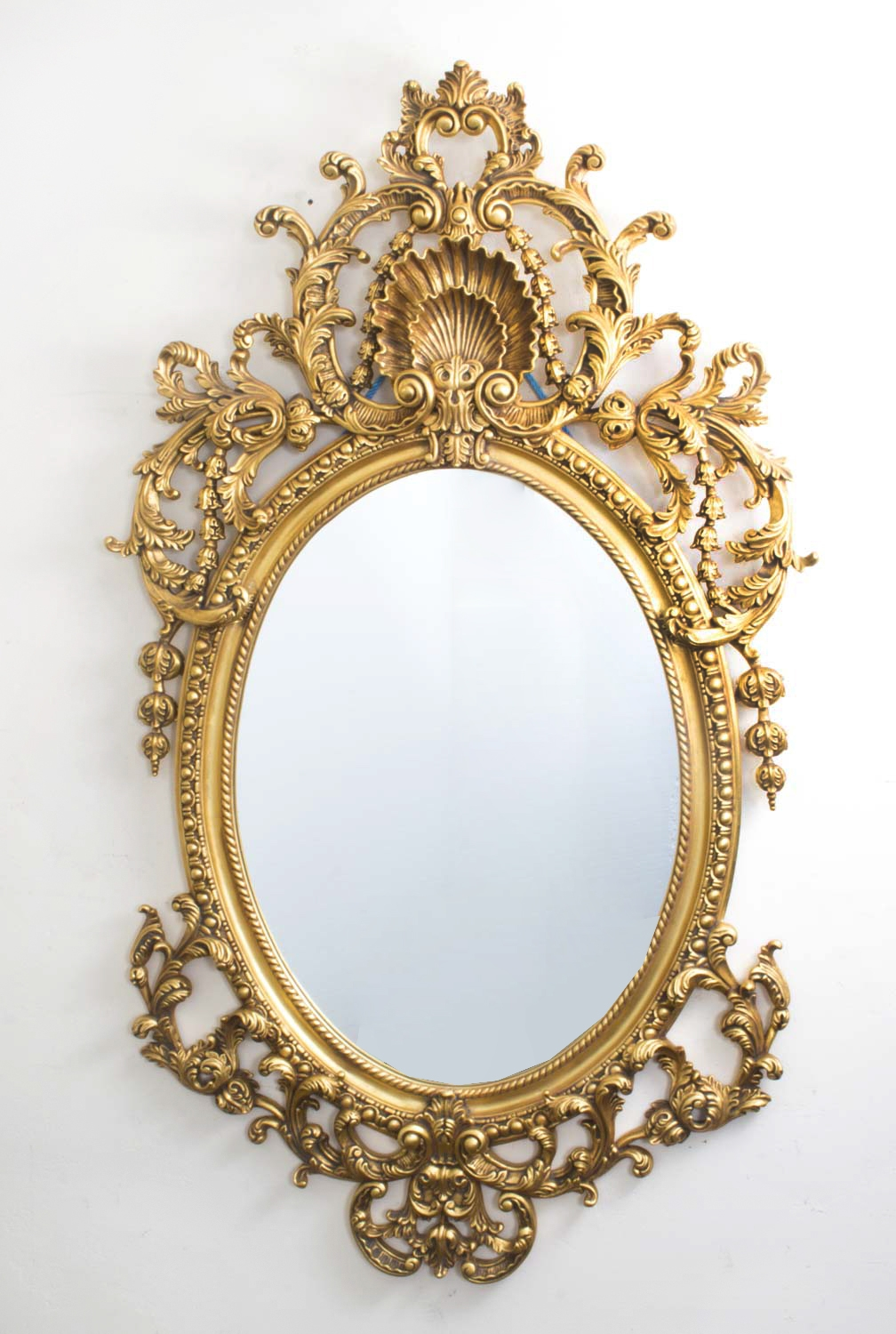 Italian Rococo Gilded Oval Mirror Giltwood 142 X 80 Cm Within Gilded Mirror (View 4 of 15)