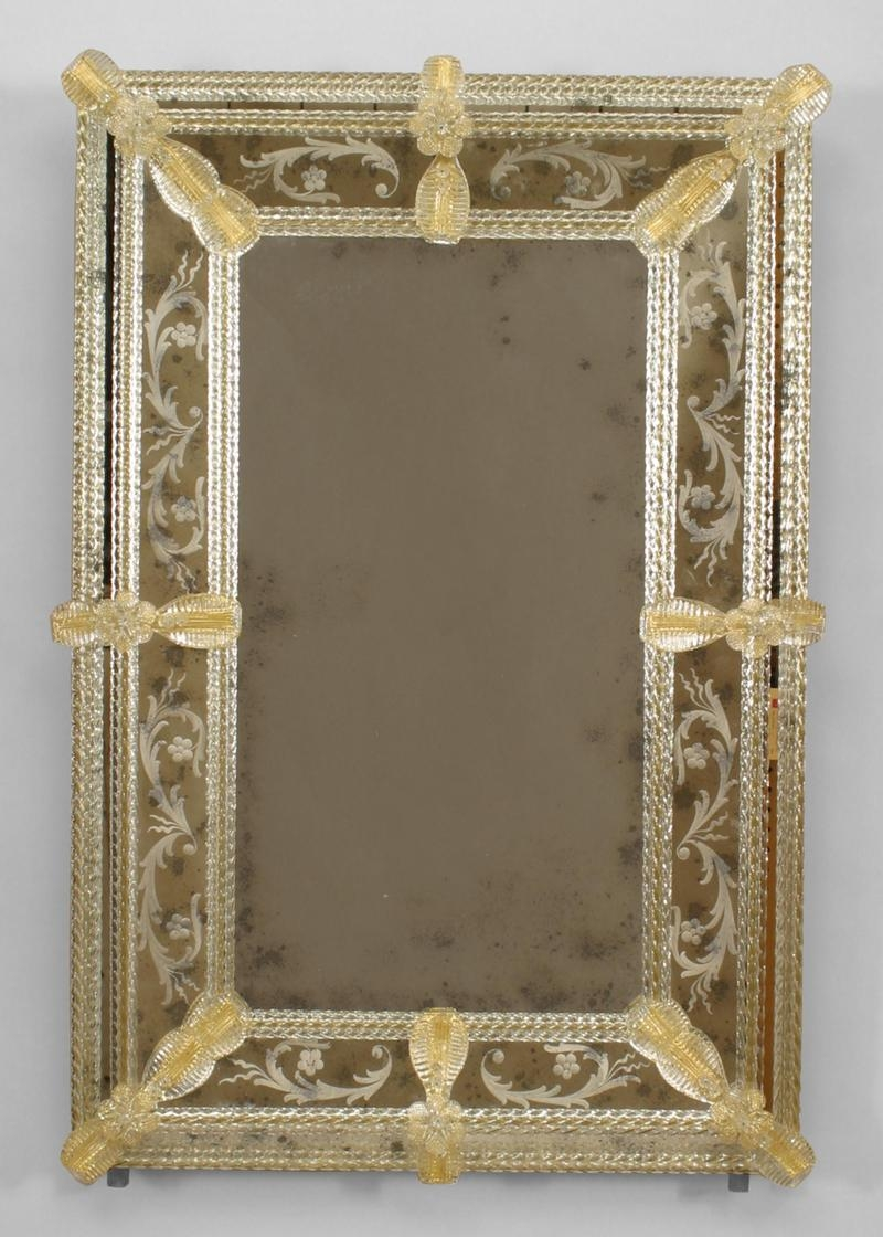 Italian Venetian 1950s Murano Fuga Rectangular Wall Mirror With Pertaining To Venetian Etched Glass Mirror (Image 10 of 15)