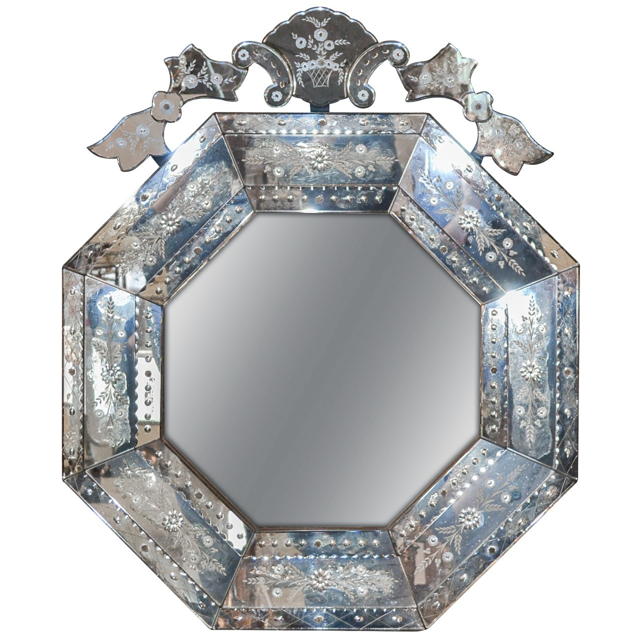 Italian Venetian Etched Glass Mirror Legacy Antiques Within Venetian Etched Glass Mirror (Image 11 of 15)