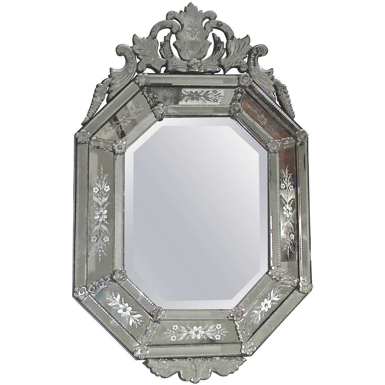 Italian Venetian Etched Glass Wall Mirror For Sale At 1stdibs With Venetian Etched Glass Mirror (Image 12 of 15)