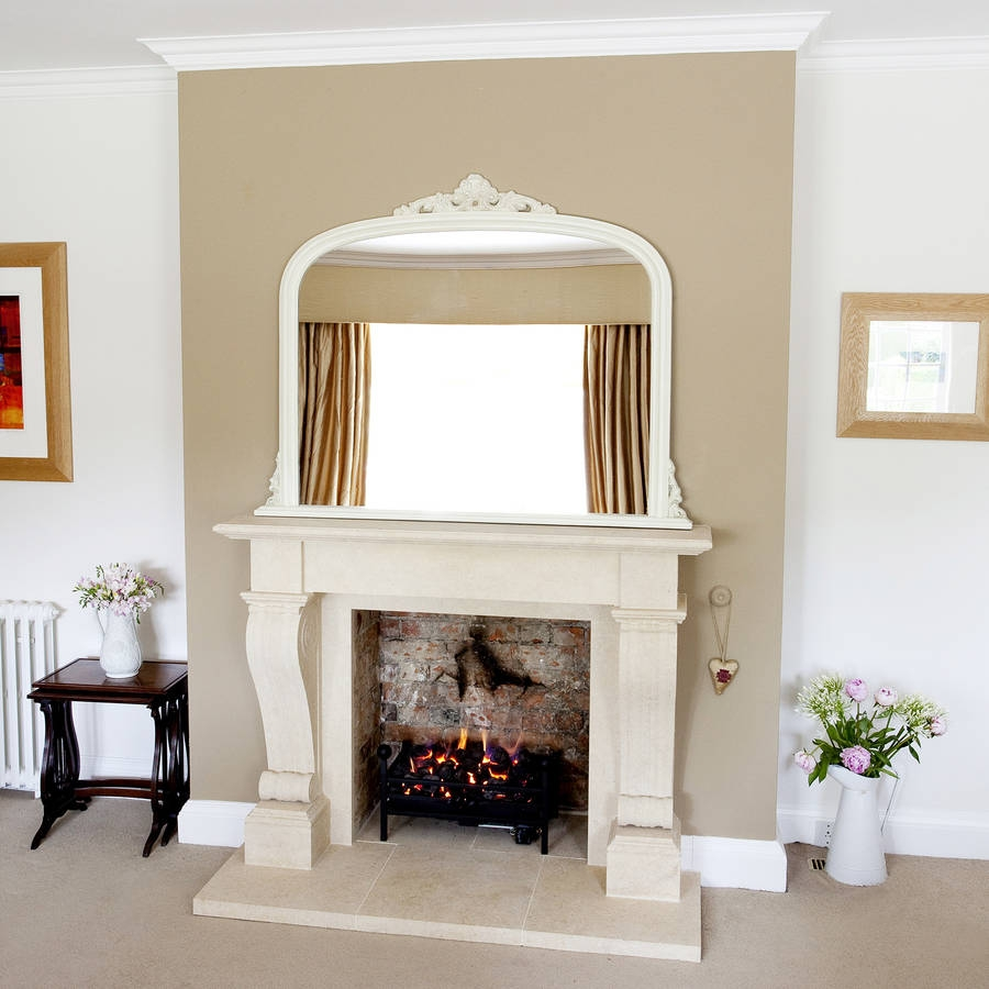 Ivory Overmantel Mirror Decorative Mirrors Online Intended For Overmantle Mirrors (Image 9 of 15)