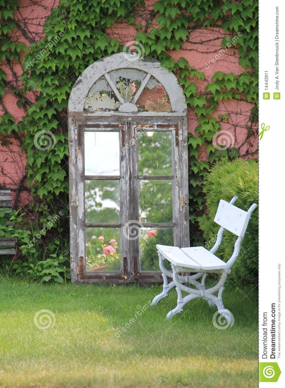 Ivy Covered Wall With Mirror And Bench Stock Image Image 14443911 In Garden Wall Mirrors (Image 9 of 15)