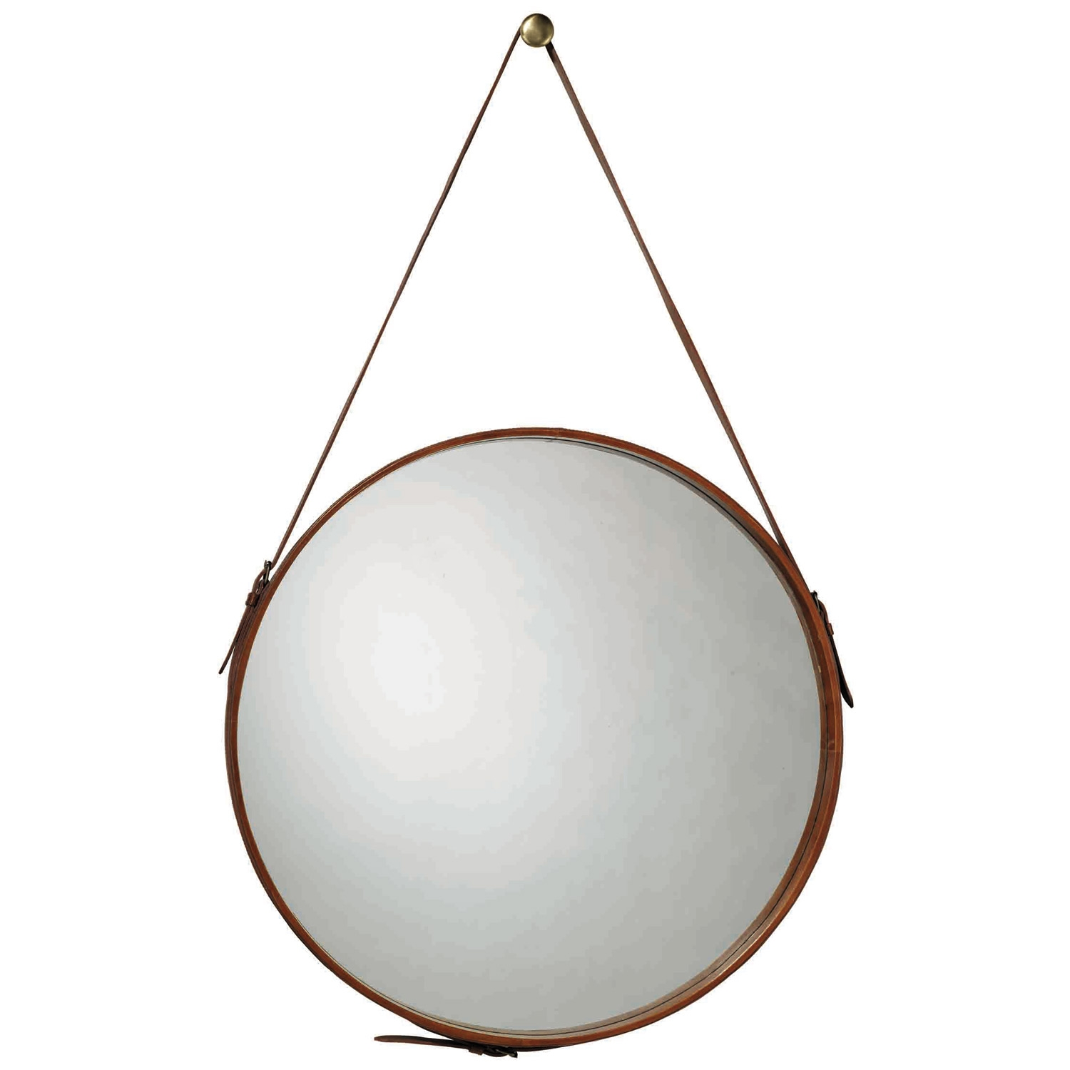 Jaime Young Leather Mirror Courtney Out Loud Regarding Leather Round Mirror (Image 6 of 15)
