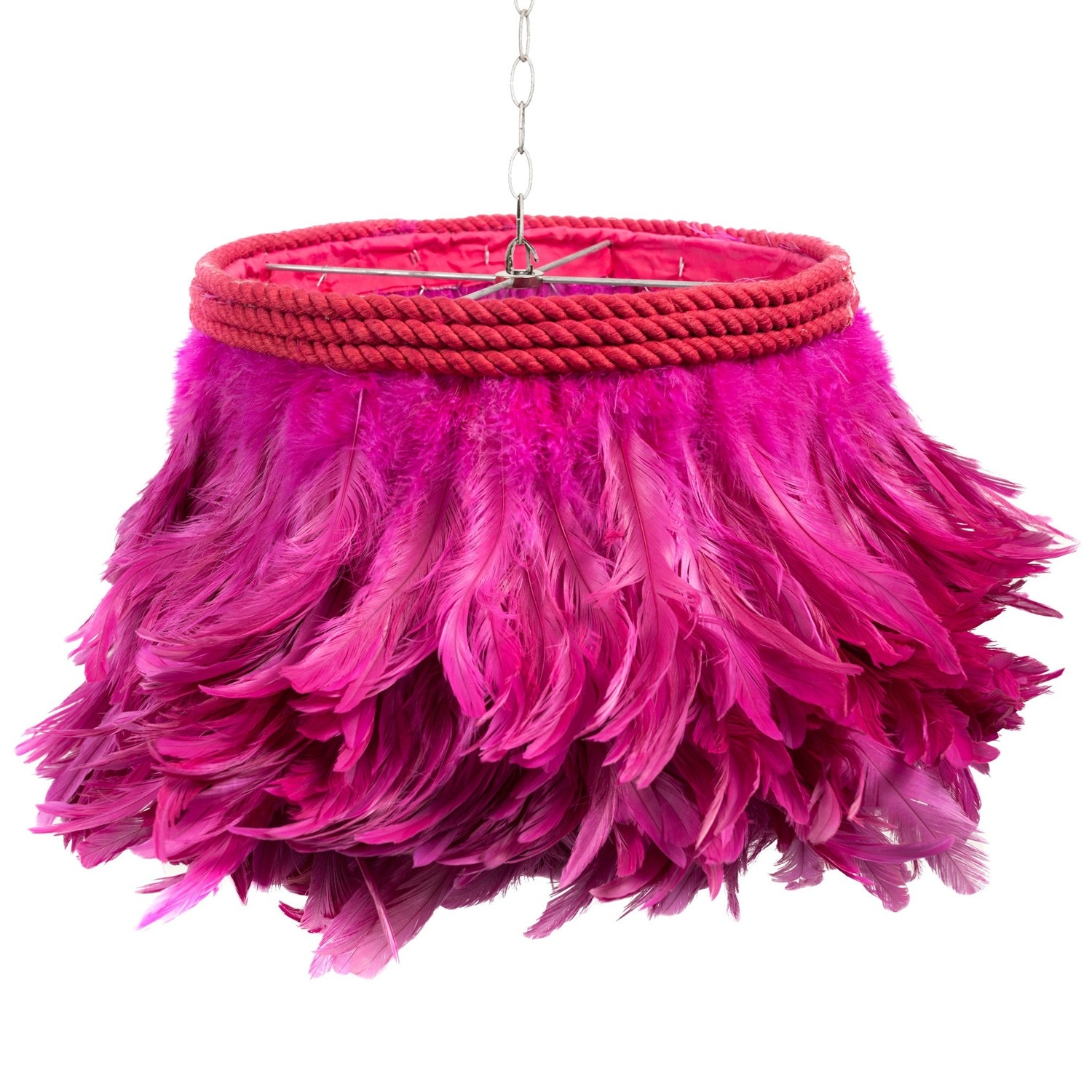 Jamie Dietrich Designs Fuschia Feather Lamp Candelabra Inc Within Fuschia Chandelier (Image 8 of 15)