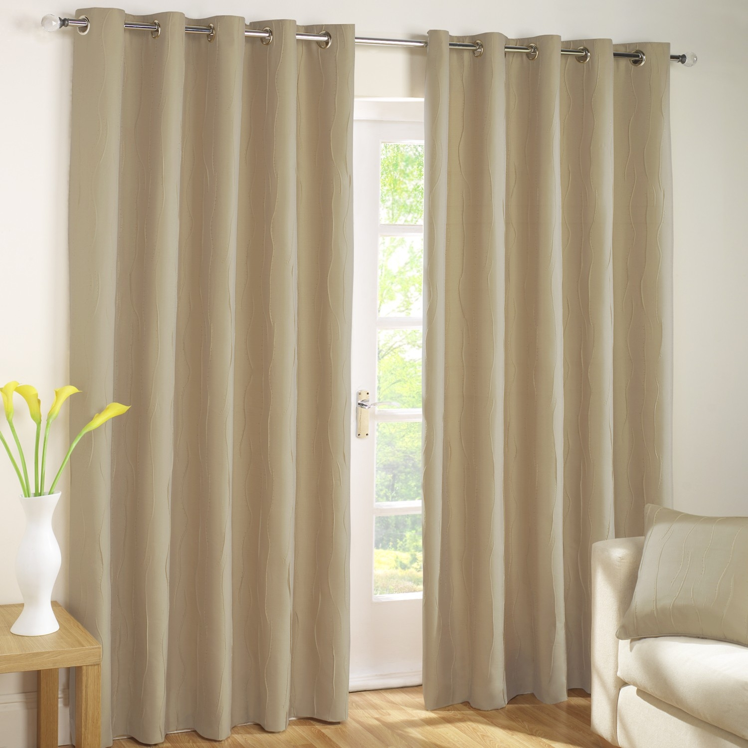 Jazz Linen Lined Eyelet Curtains Pair Julian Charles Regarding Cream And Gold Eyelet Curtains (Image 11 of 15)