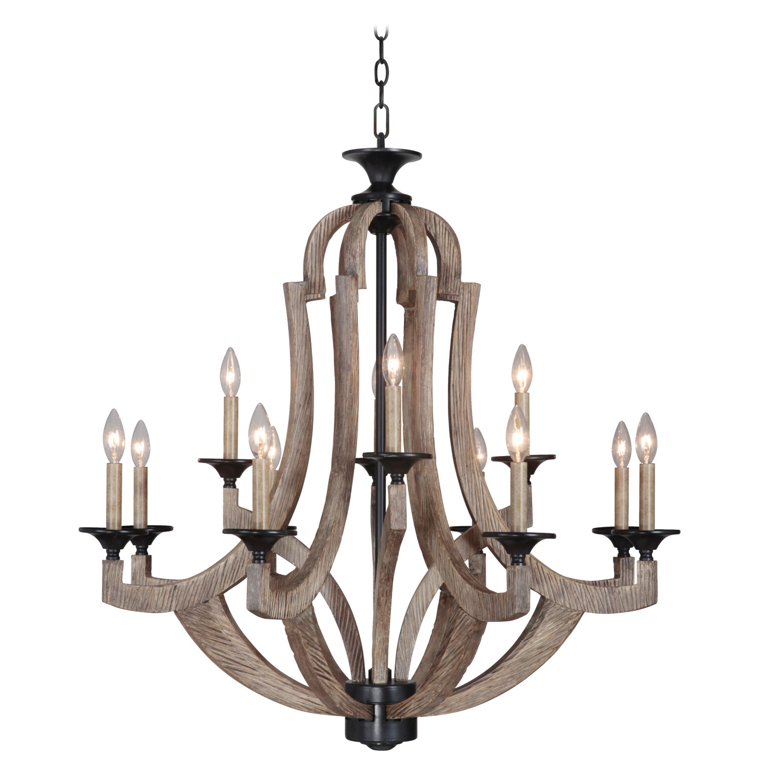 Jeremiah Craftmade Winton Weathered Pine And Bronze 12 Light In Candle Light Chandelier (View 4 of 15)