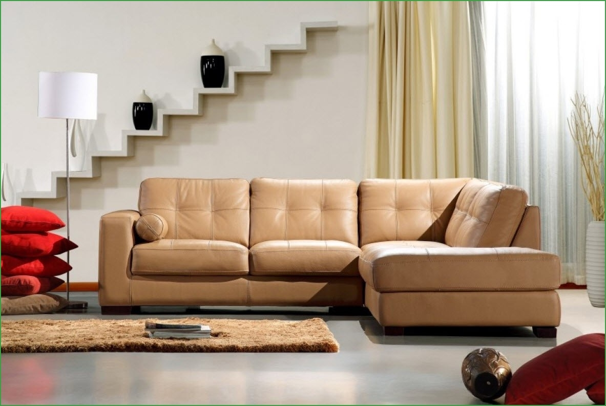Jessica Modern Leather Sectional Camel Colored Leather Sectional With Regard To Camel Colored Sectional Sofa (Image 12 of 15)