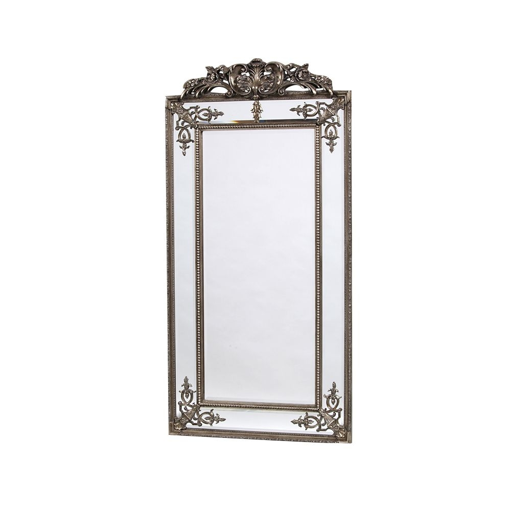 Josephine Tall Silver Ornate Top Mirror In Tall Ornate Mirror (Image 5 of 15)