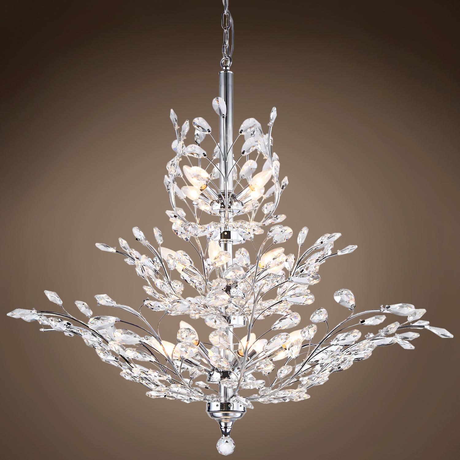 Joshua Marshal 700109 Branch Of Light 13 Light Chrome Chandelier Throughout Crystal Branch Chandelier (Image 9 of 15)