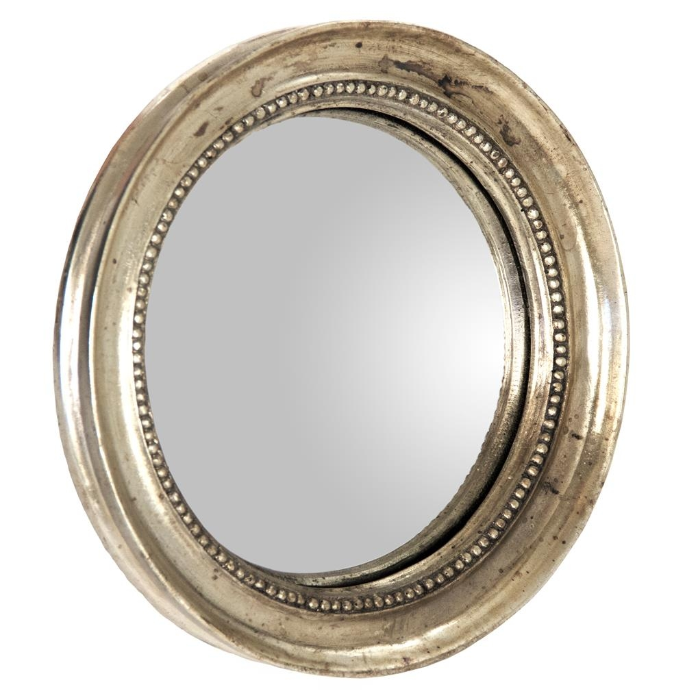 Julian Antique Gold Champagne Small Round Convex Mirror Kathy Regarding Round Antique Mirror (Image 5 of 15)