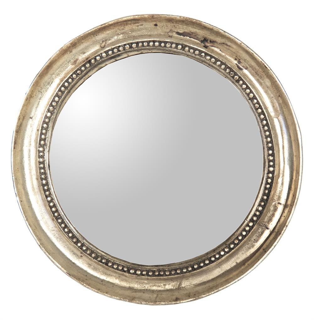 Julian Antique Gold Champagne Small Round Convex Mirror Kathy Throughout Round Antique Mirror (Image 6 of 15)