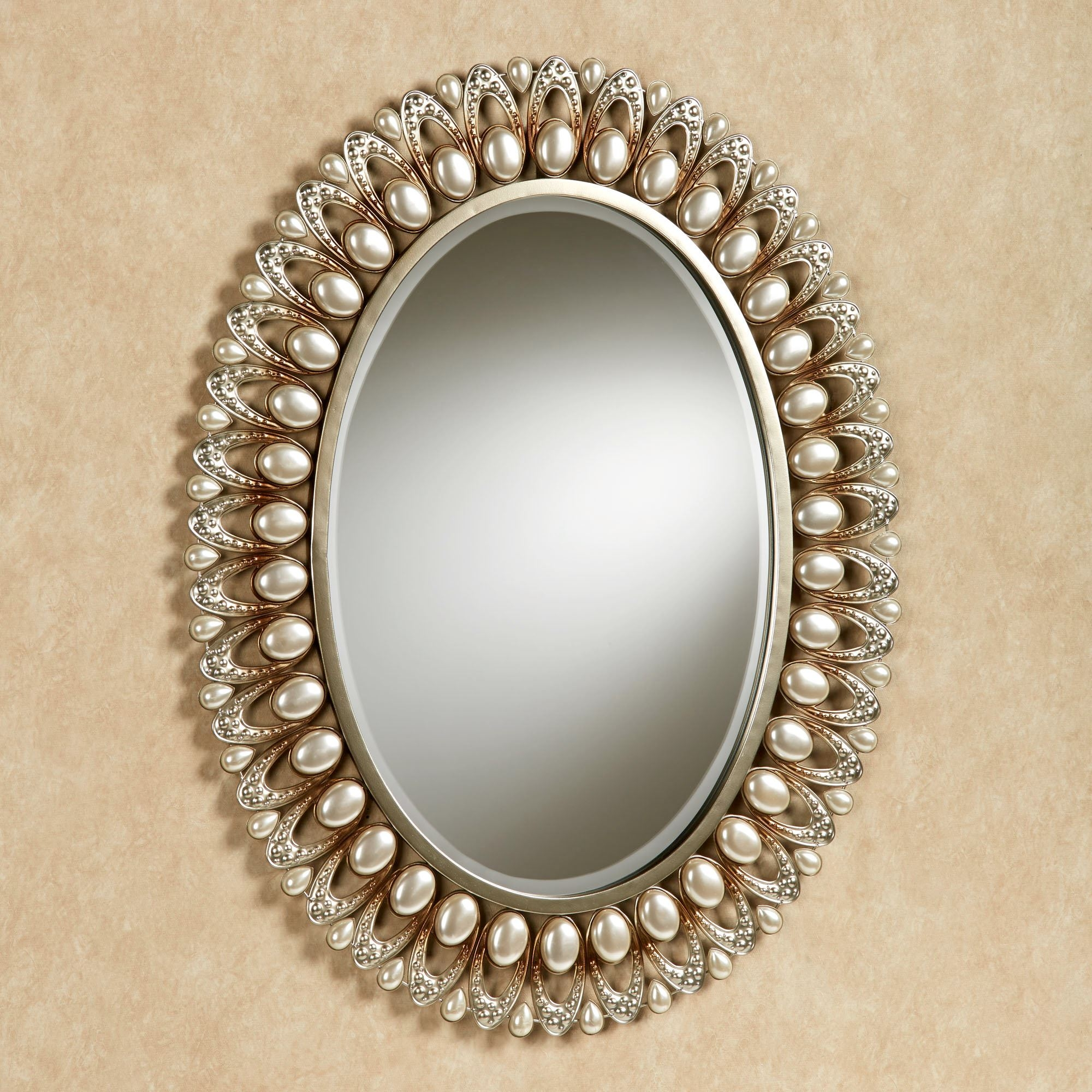 Julietta Pearl Oval Wall Mirror Intended For Oval Wall Mirrors (Image 7 of 15)