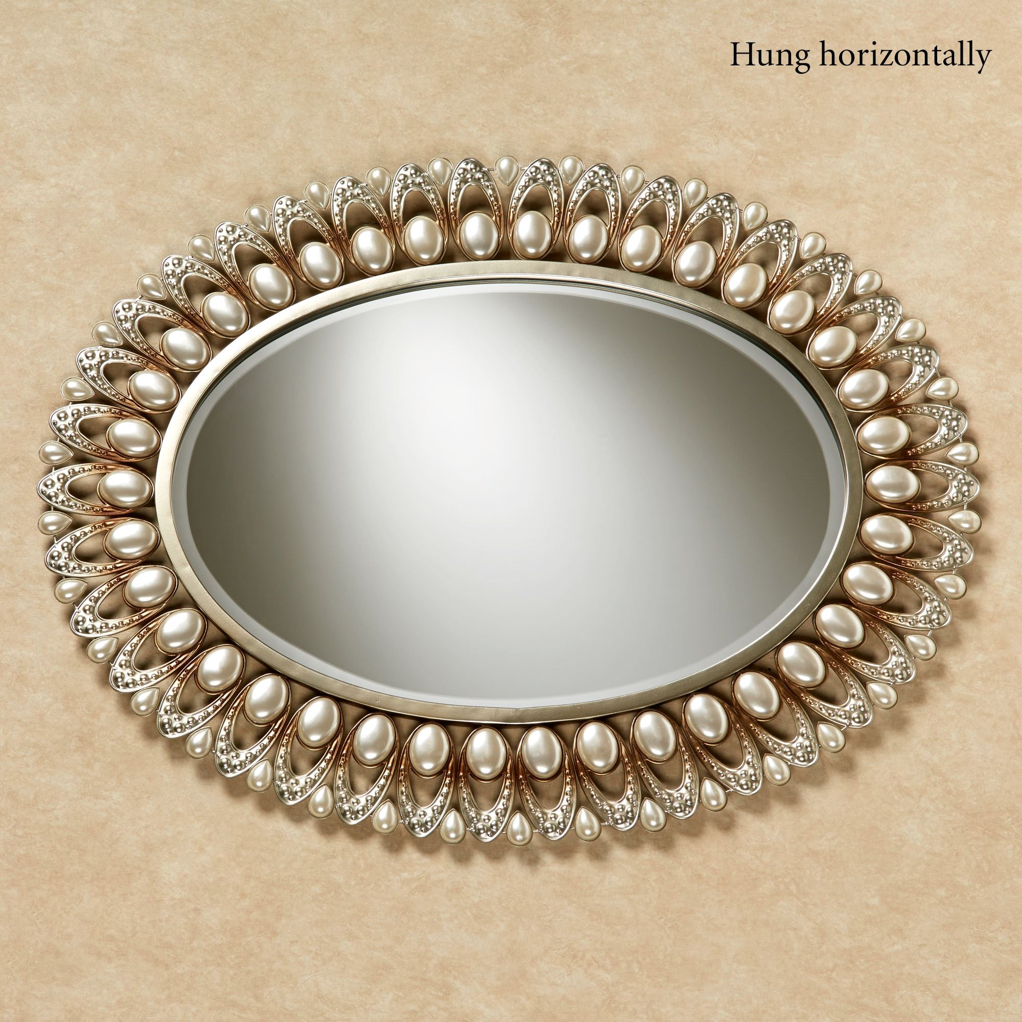Julietta Pearl Oval Wall Mirror With Champagne Wall Mirror (View 14 of 15)