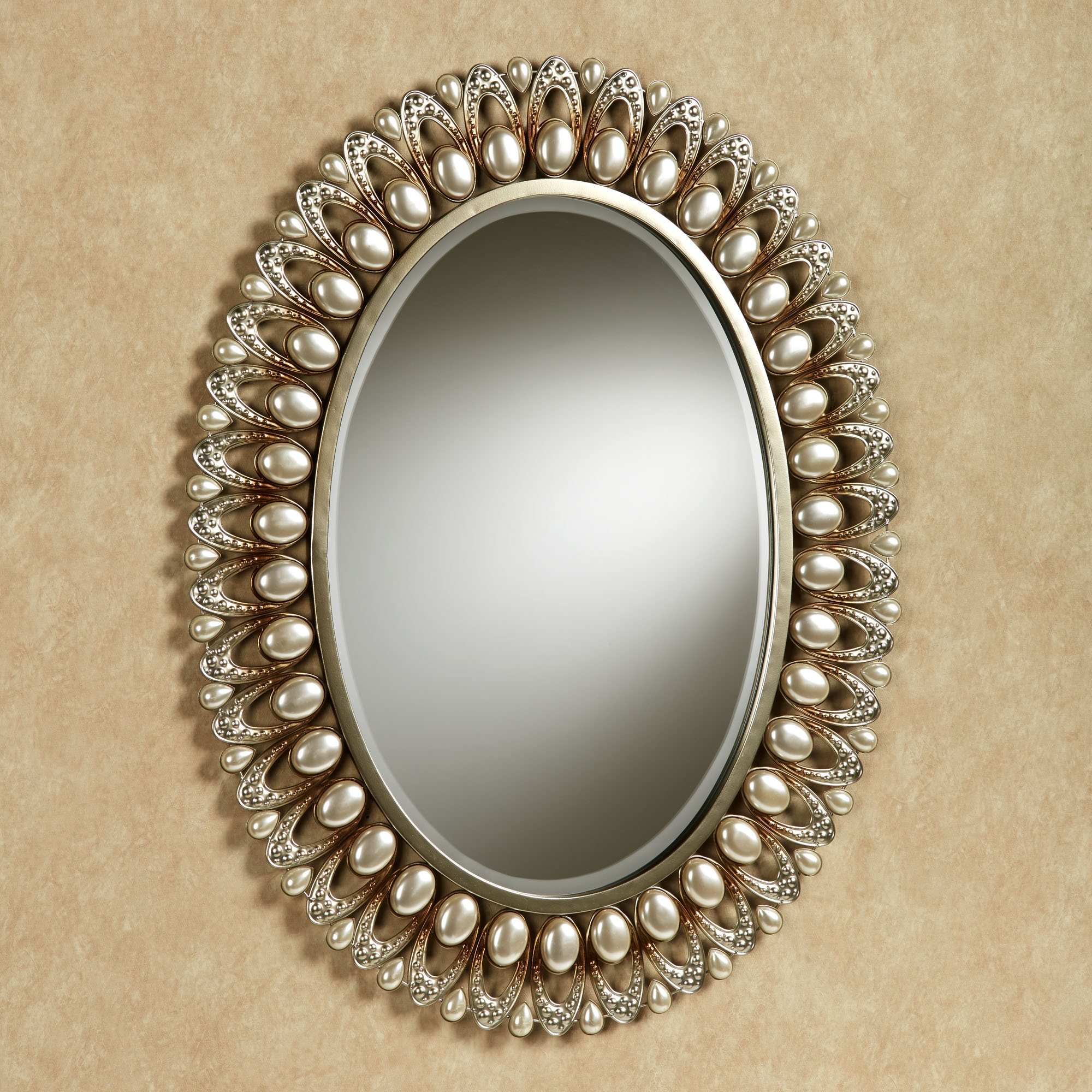 Julietta Pearl Oval Wall Mirror Within Large Oval Wall Mirror (Image 10 of 14)