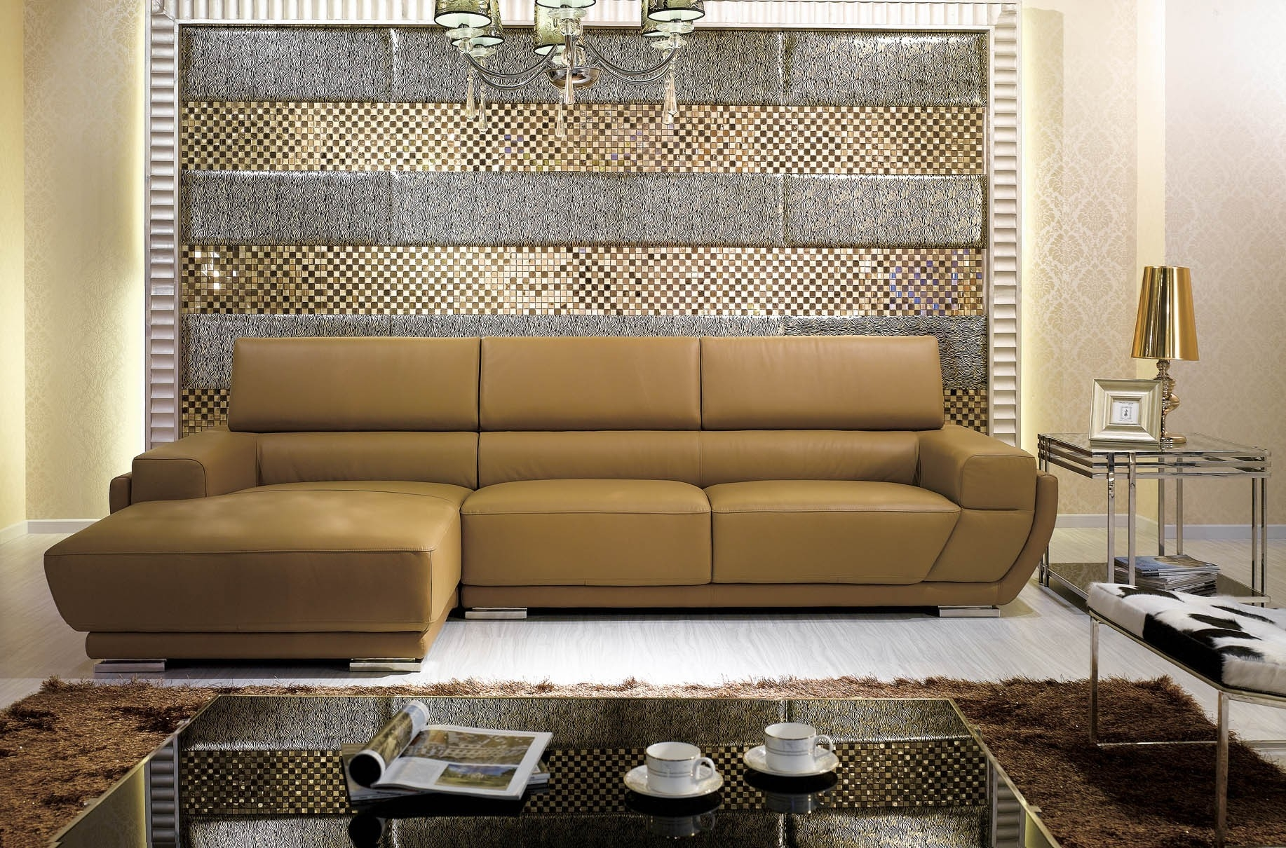 K8300 Modern Camel Italian Leather Sectional Sofa With Camel Sectional Sofa (View 8 of 15)