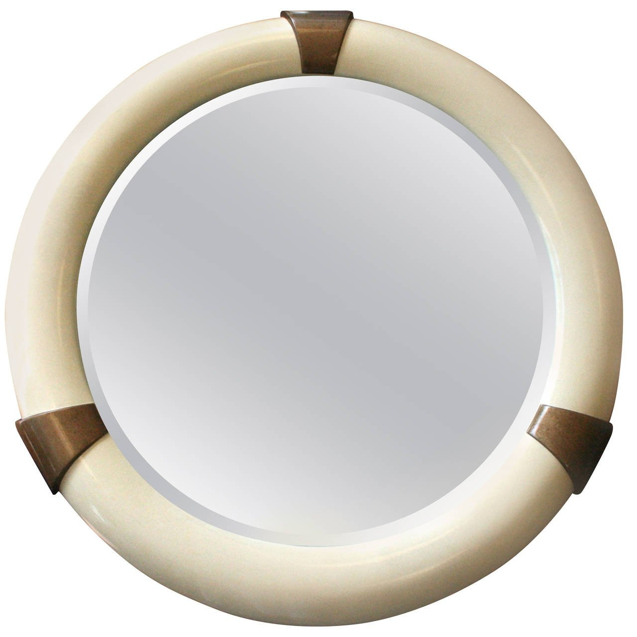 Karl Springer Style Large Lacquered Round Mirror At 1stdibs Throughout Large Round Mirrors (Image 10 of 15)