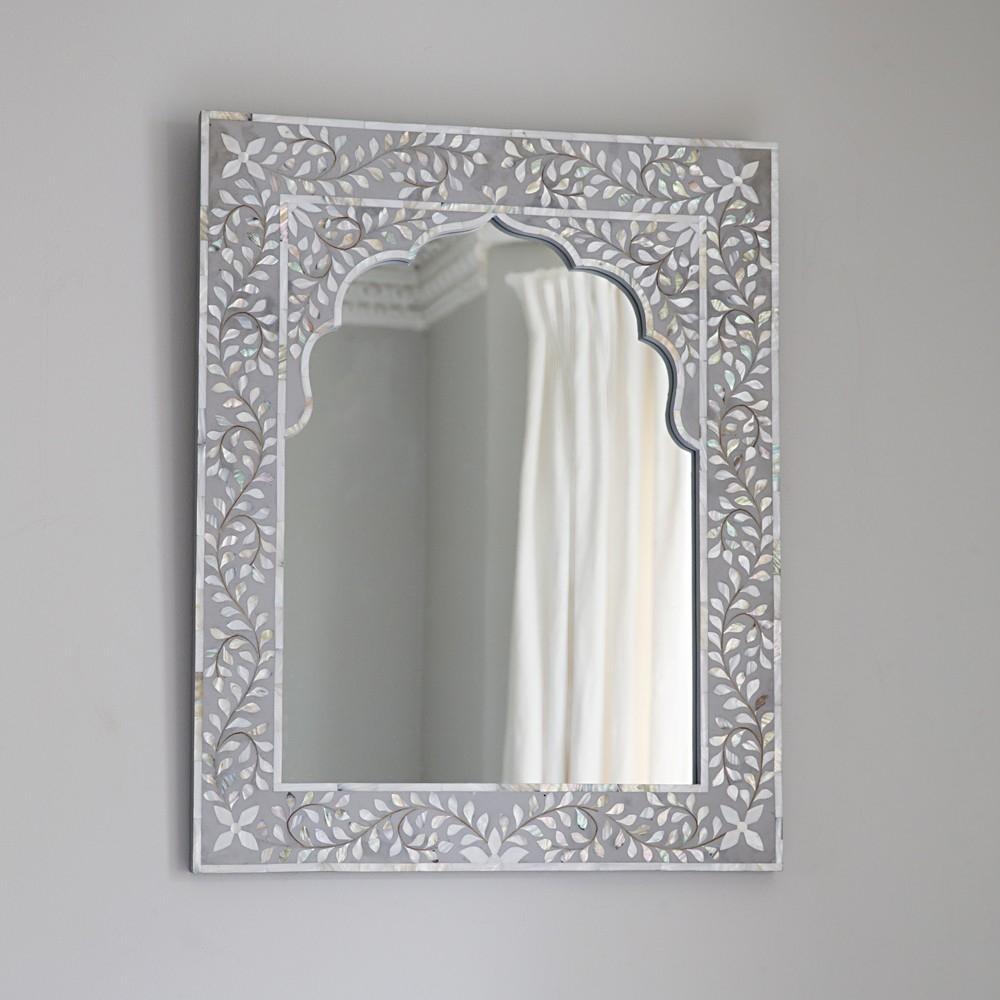 Kasbah Mother Of Pearl Wall Mirror In Steeple Grey Atkin Thyme Regarding Mother Of Pearl Wall Mirror (View 3 of 15)