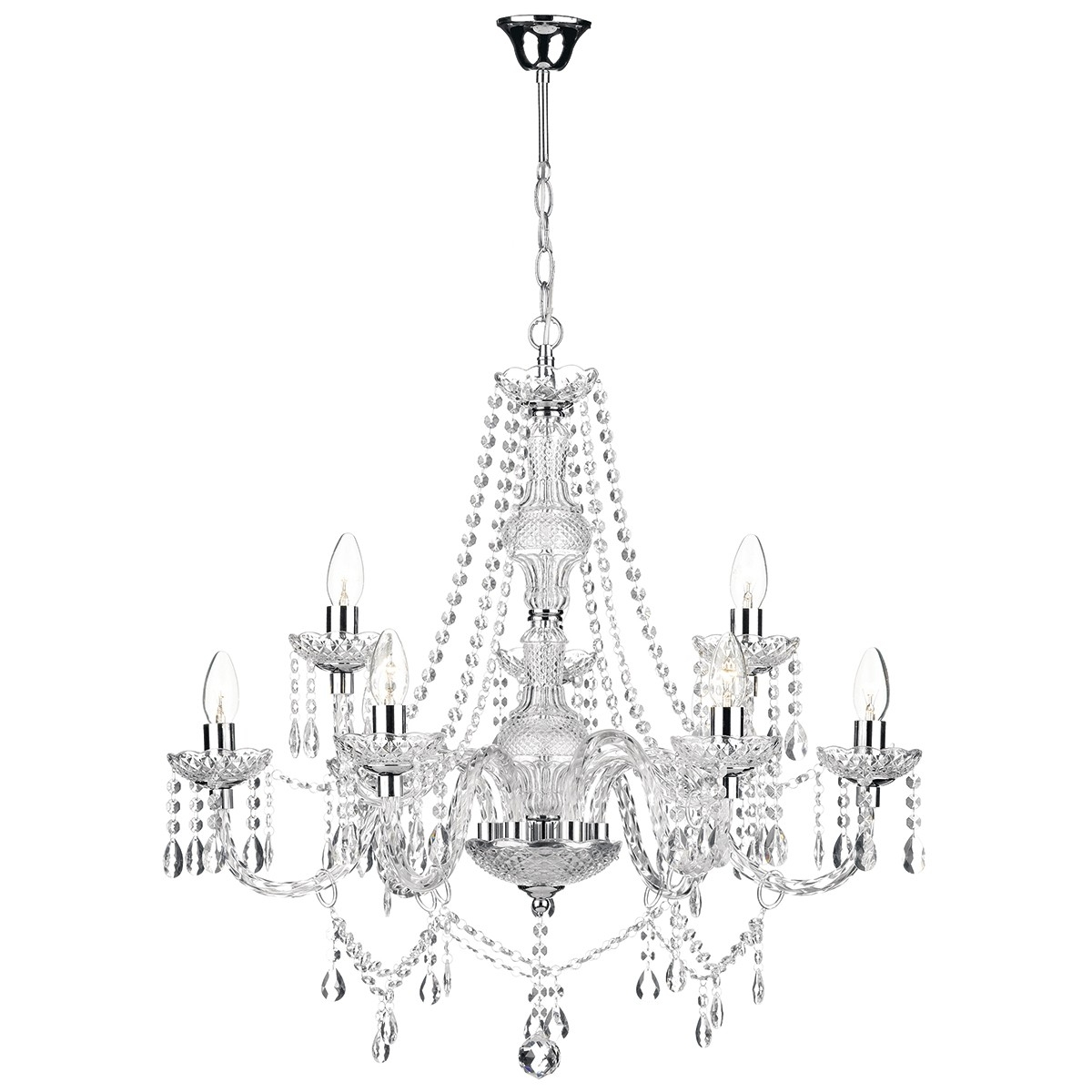 Katie 9 Light Chandelier Polished Chrome Acrylic Glass Regarding Chrome And Glass Chandelier (Photo 2 of 15)