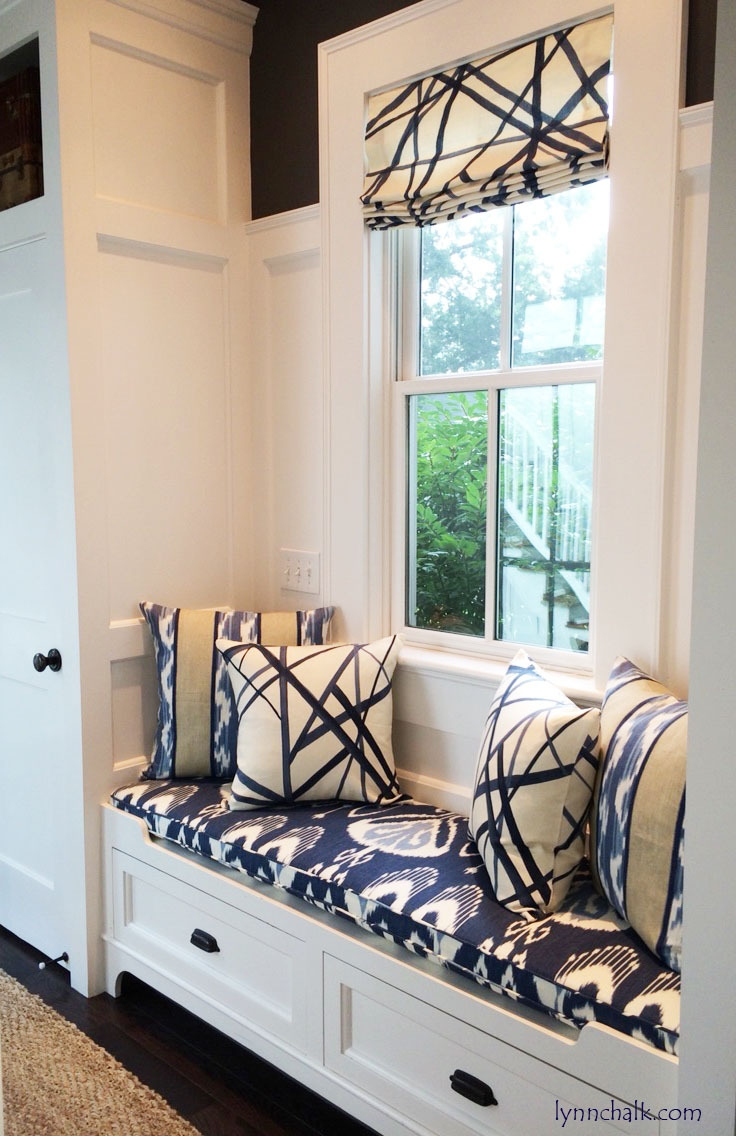 Kelly Wearstler Channels Custom Roman Shades Shown In Periwinkle With Custom Roman Blinds (Image 6 of 15)