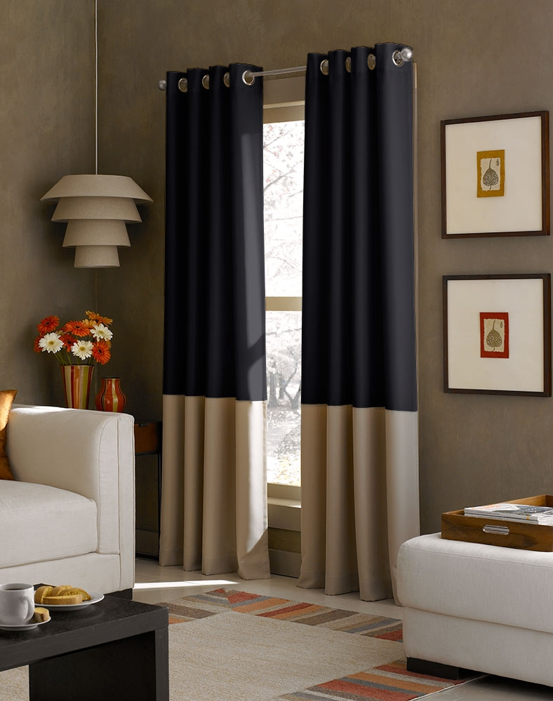 Kendall Color Block Grommet Curtain Panel Curtainworks With Regard To Black And Brown Curtains (Image 14 of 15)