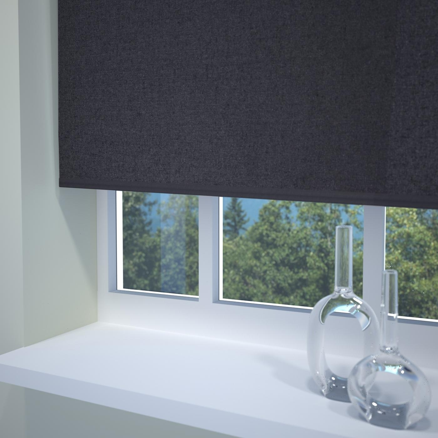 Kensington Plain Roller Blind Noir Free Uk Delivery Terrys Fabrics With Regard To Plain Roller Blinds (Image 4 of 15)
