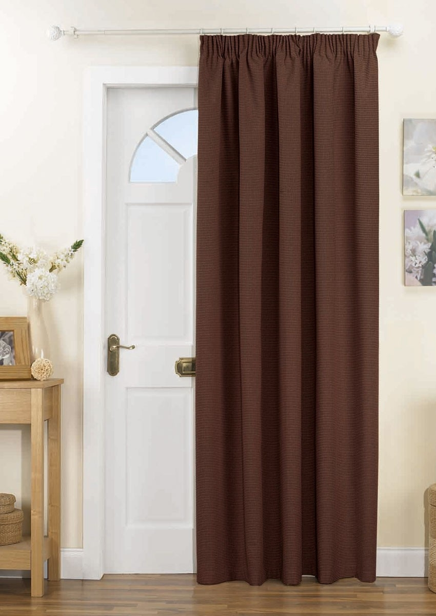 Kent Thermal Door Curtain Chocolate Pencil Pleat Curtains For Thermal Door Curtains (Image 8 of 15)