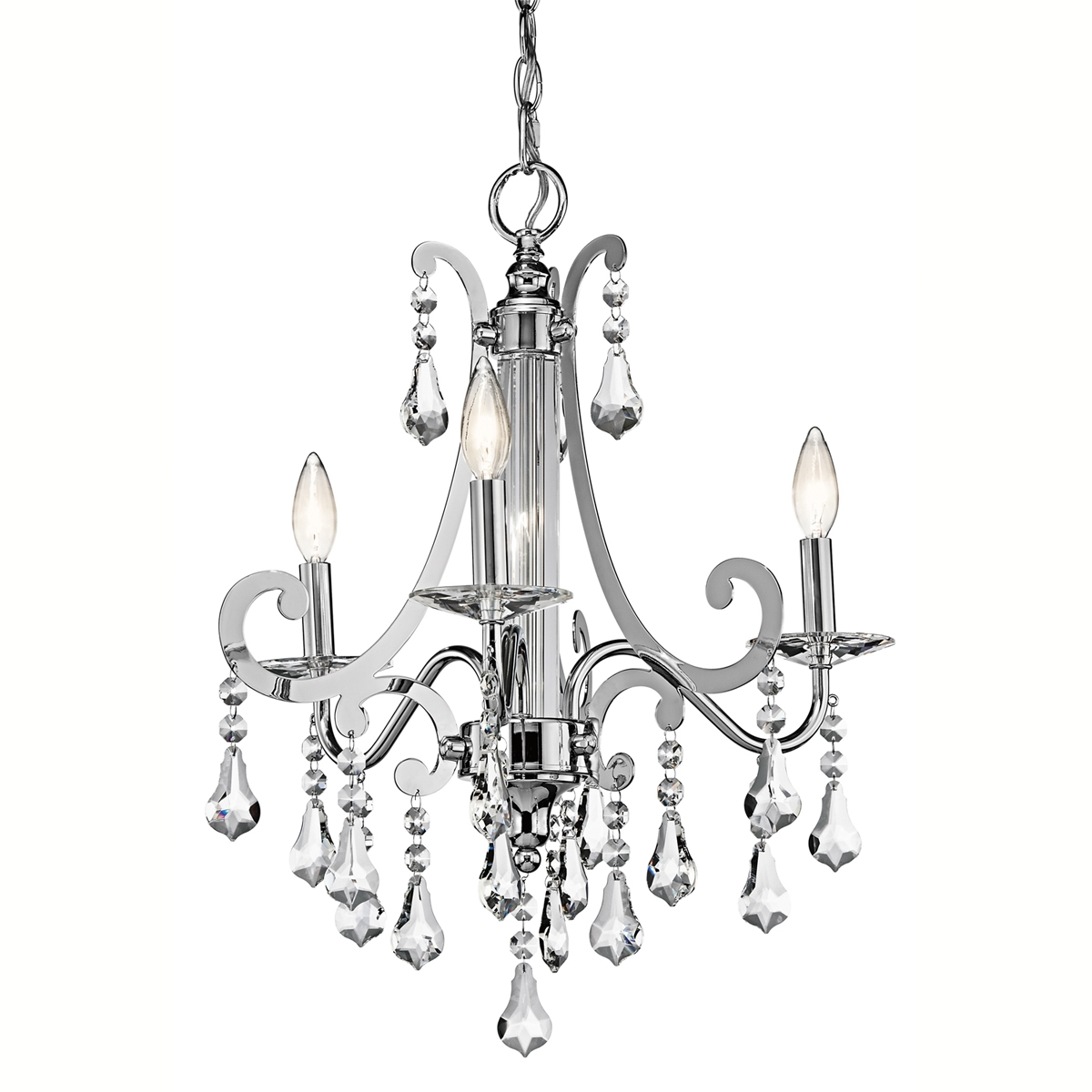 Kichler Lighting 42544ch Leanora Single Tier Small 3 Light Regarding Small Chrome Chandelier (Image 10 of 15)