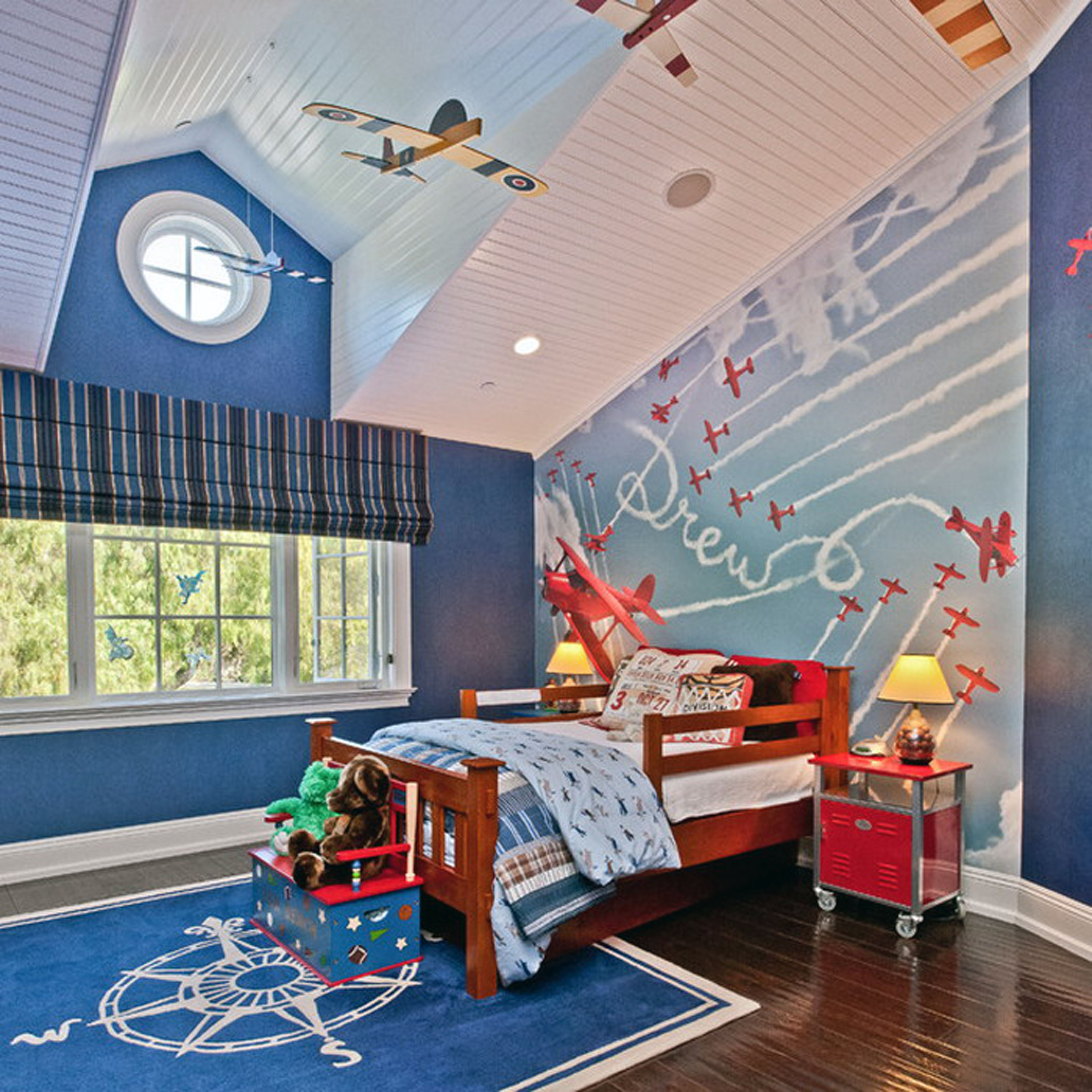 Kids Room Wooden Bed Frame And Roman Blinds For Window Treatment In Kids Roman Blinds (Image 7 of 15)