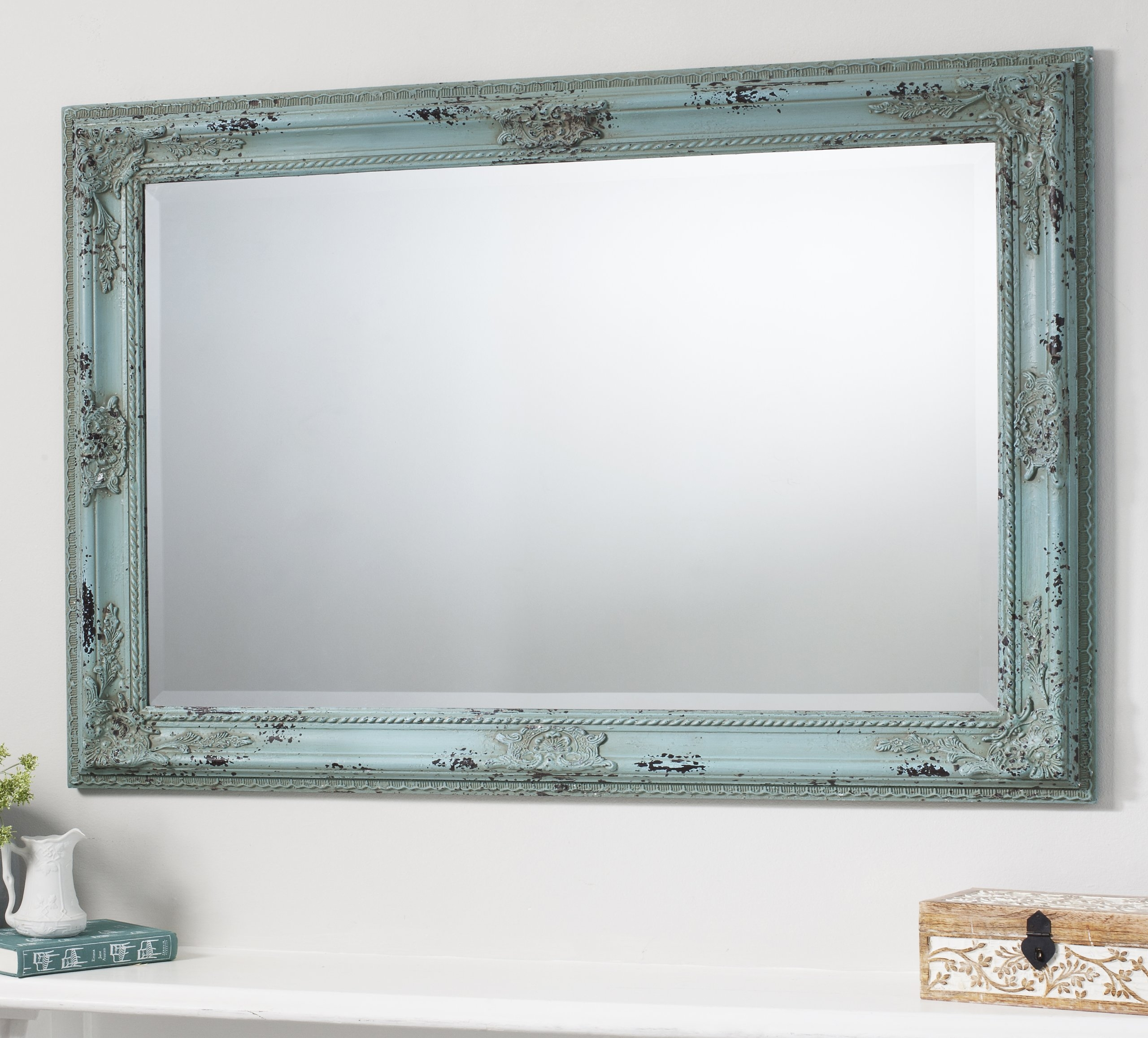 Kingsley Large Vintage Teal Blue Rectangle Wall Mirror 435 X With Regard To Large Hallway Mirror (Image 12 of 15)
