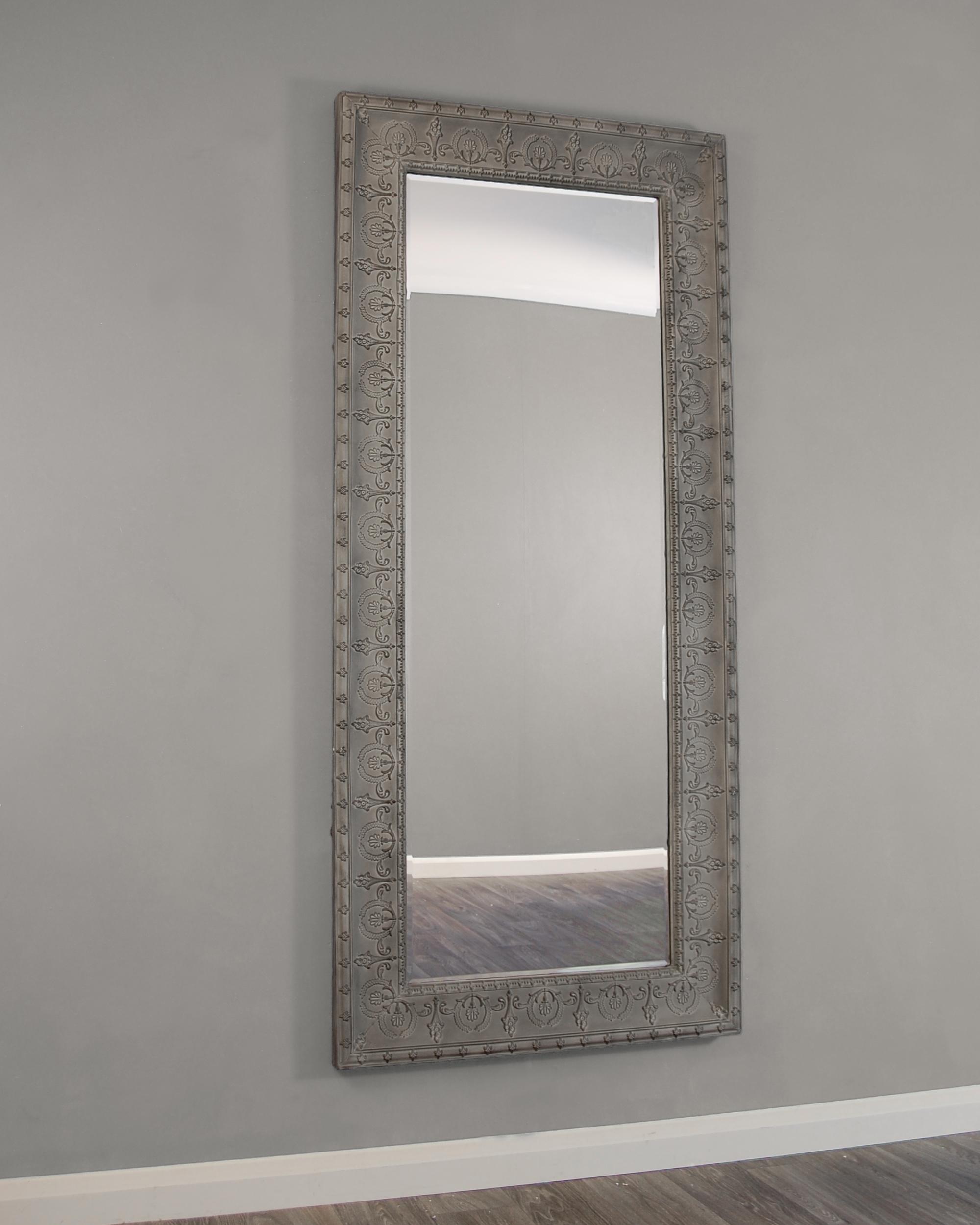 Kirkham Mirrors Kirkham Large Grey Embossed Metal Framed In Bevelled Glass Mirror (View 10 of 15)