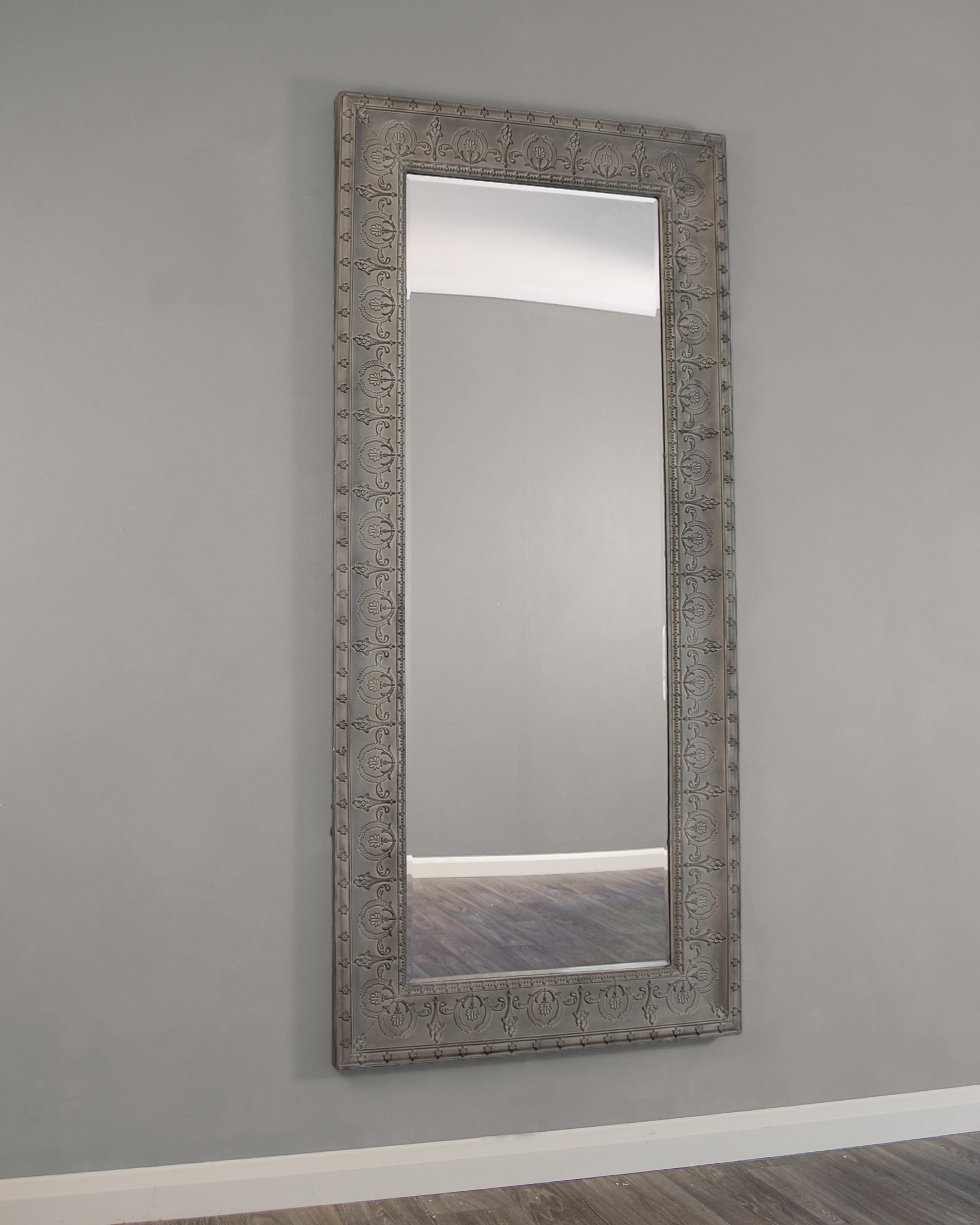 Kirkham Mirrors Kirkham Large Grey Embossed Metal Framed In Large Glass Bevelled Wall Mirror (Image 8 of 15)