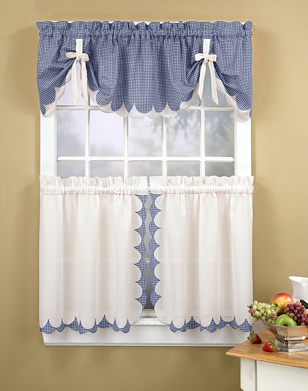 Kitchen Curtains Tabitha 3 Piece Kitchen Curtain Tier Set Inside Hand Made Curtains (Image 10 of 15)