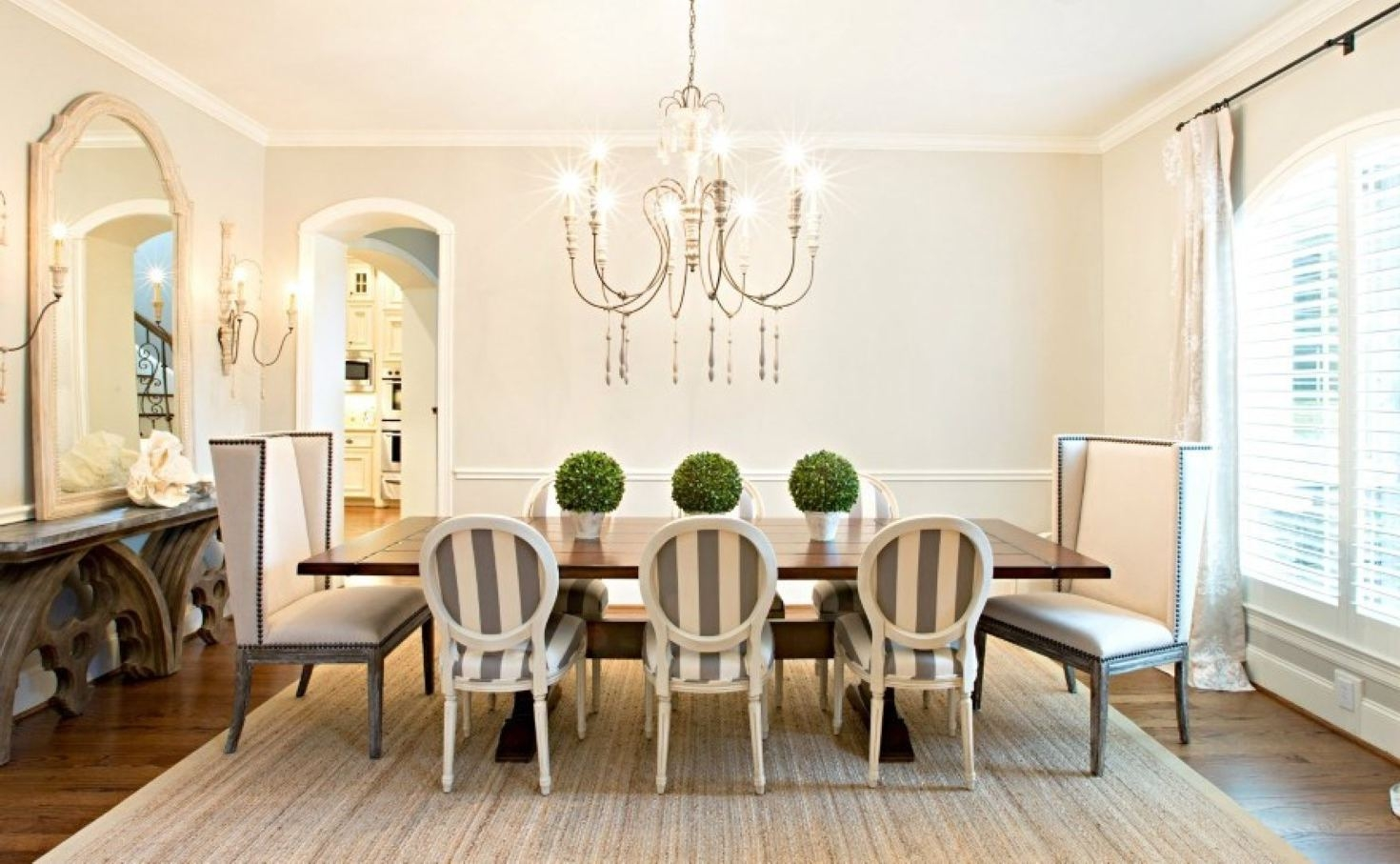 Kitchen Table Centerpiece Ideas Cream Rug Round Crystal Chandelier Pertaining To Cream Crystal Chandelier (View 8 of 15)