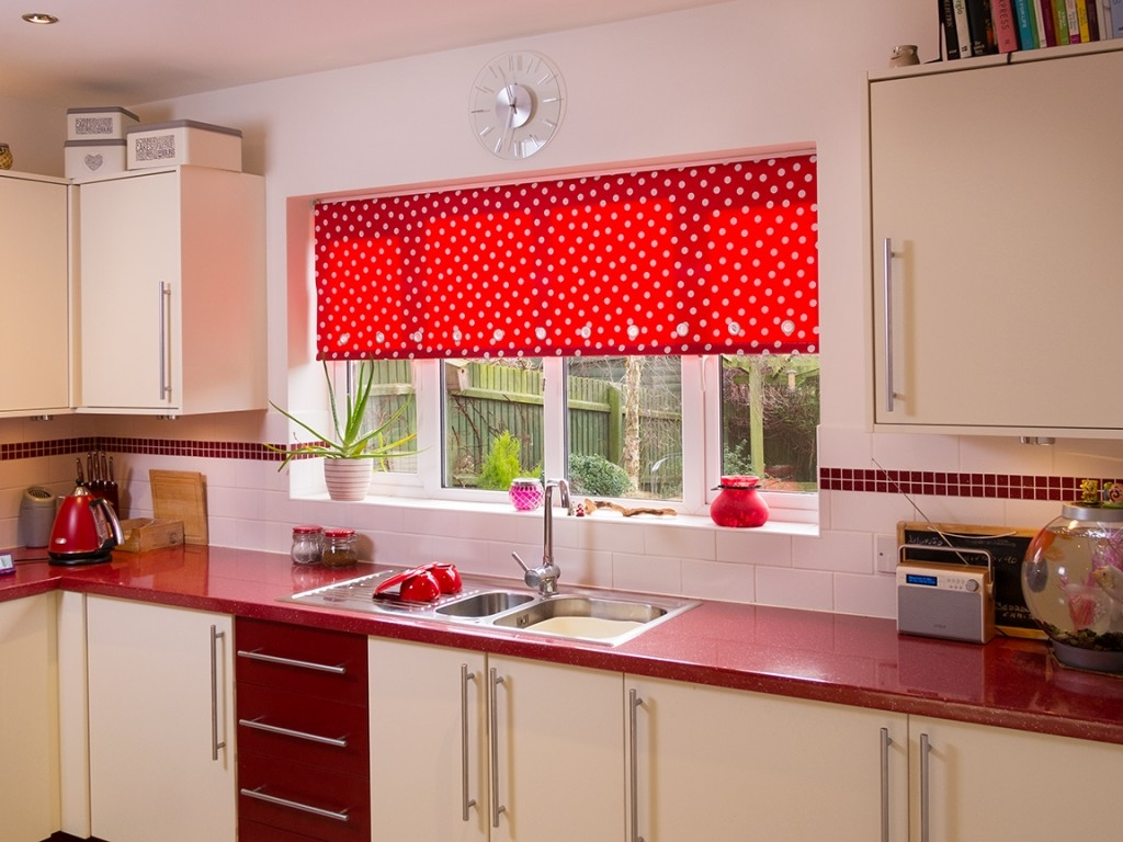 Kitchen Web Blinds Regarding Red Roman Blinds Kitchen