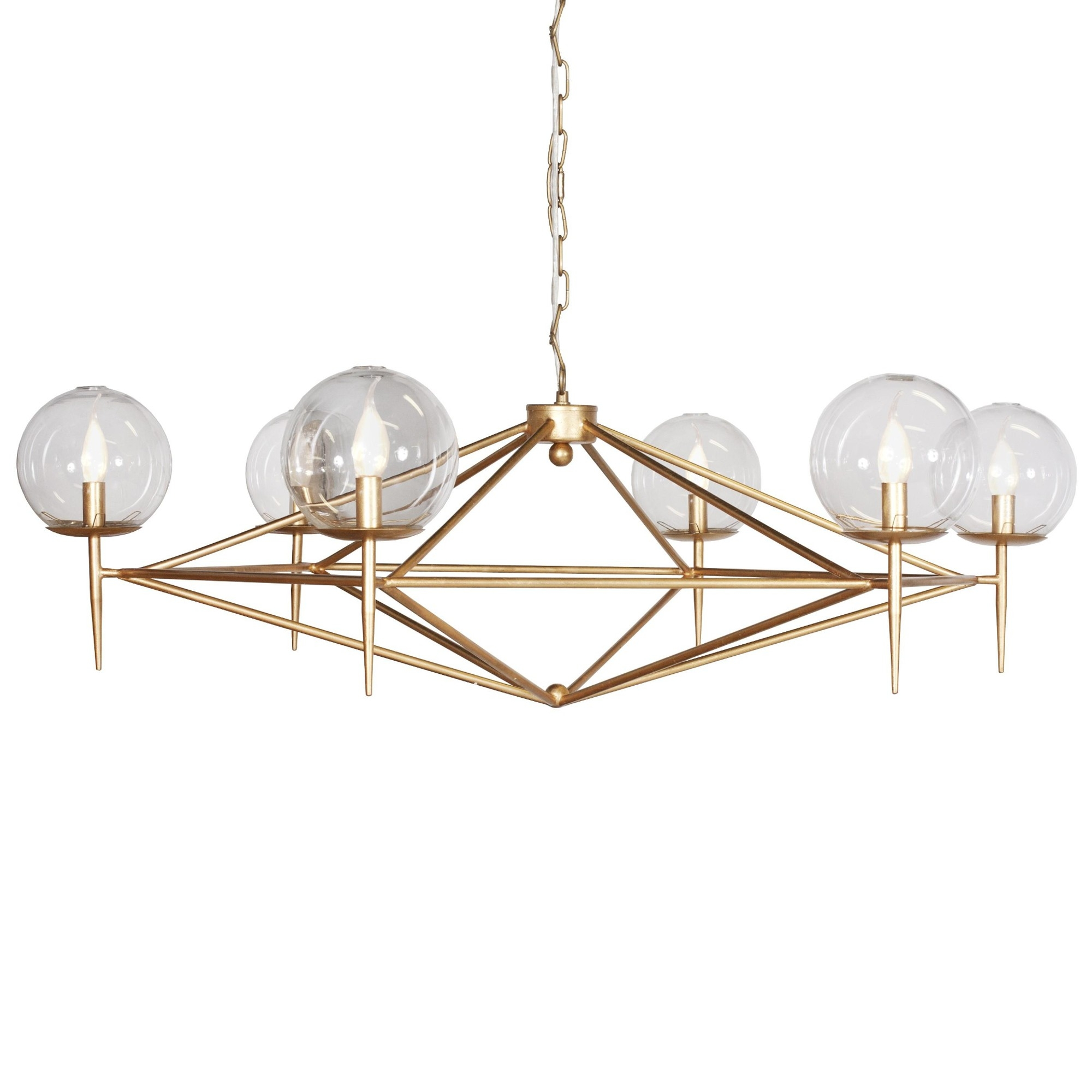 Kudzu And Company Geometric Gold Leaf Chandelier In Gold Leaf Chandelier (Image 14 of 15)