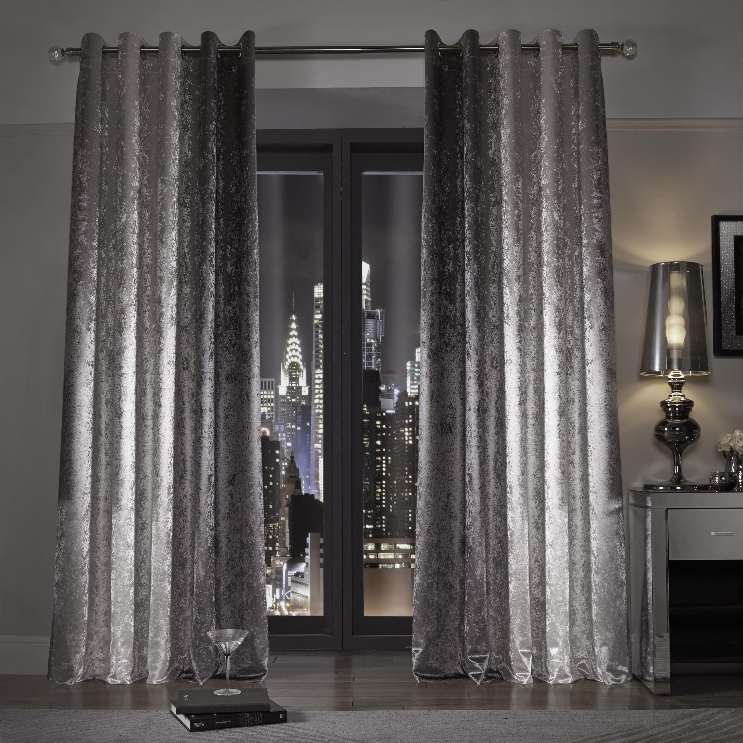 Kylie Minogue At Home Natala Slate Grey Silver Velvet Lined Ready Throughout Thick Grey Curtains (Image 9 of 15)