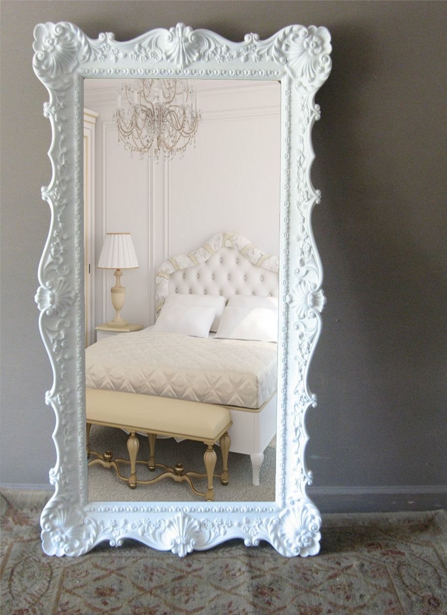 L E A N I N G Mirror Vintage Floor Mirror Hollywood Regency Leaner With Regard To Huge Ornate Mirror (Image 9 of 15)
