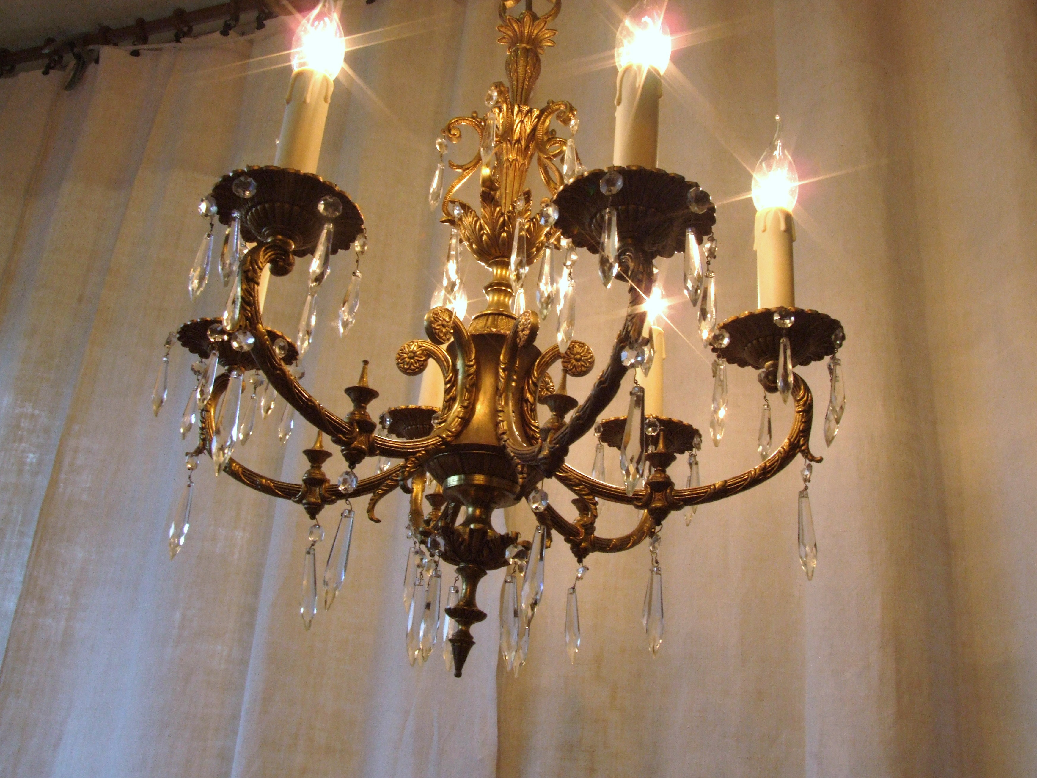 L158s Exquisite Vintage Italian 6 Arm Gilded Brass And Crystal Intended For Vintage Italian Chandeliers (Image 9 of 15)