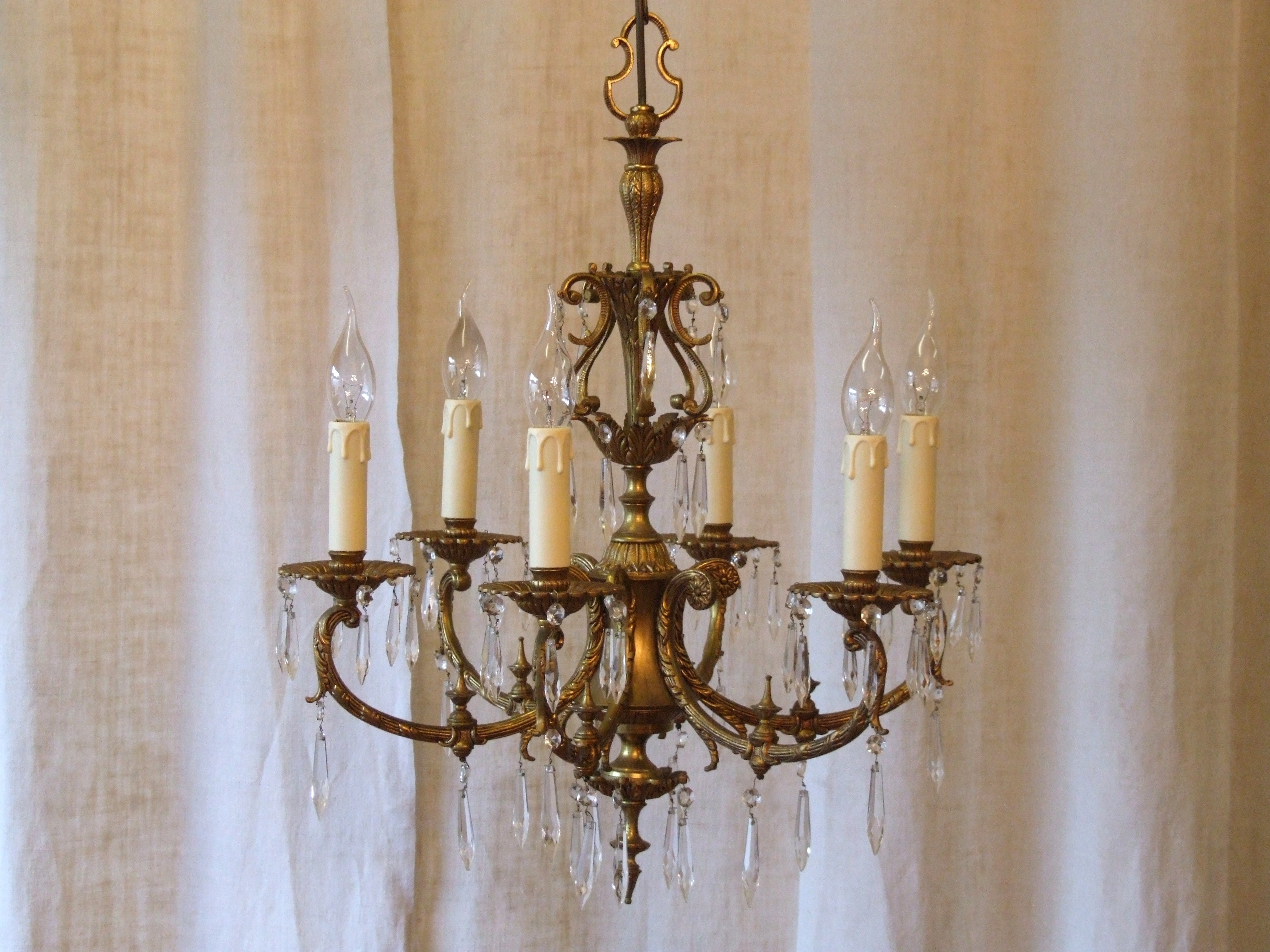 L158s Exquisite Vintage Italian 6 Arm Gilded Brass And Crystal Regarding Vintage Italian Chandeliers (Image 10 of 15)