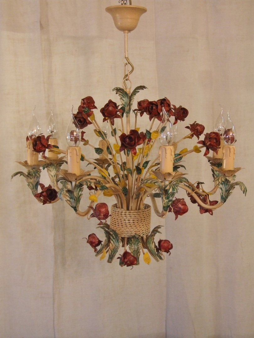 L205s Large 8 Arm Vintage Italian Painted Toleware Chandelier Throughout Vintage Italian Chandeliers (Image 11 of 15)