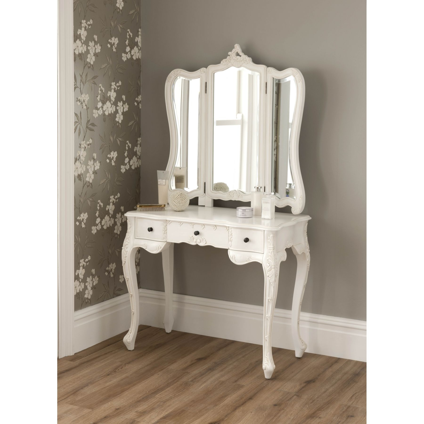La Rochelle Antique French Dressing Table Shab Chic With Ornate Dressing Table Mirror (Image 6 of 15)