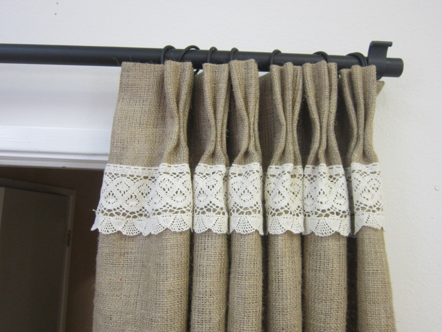 Lace Curtains Etsy Inside Hessian Curtains (Image 15 of 15)