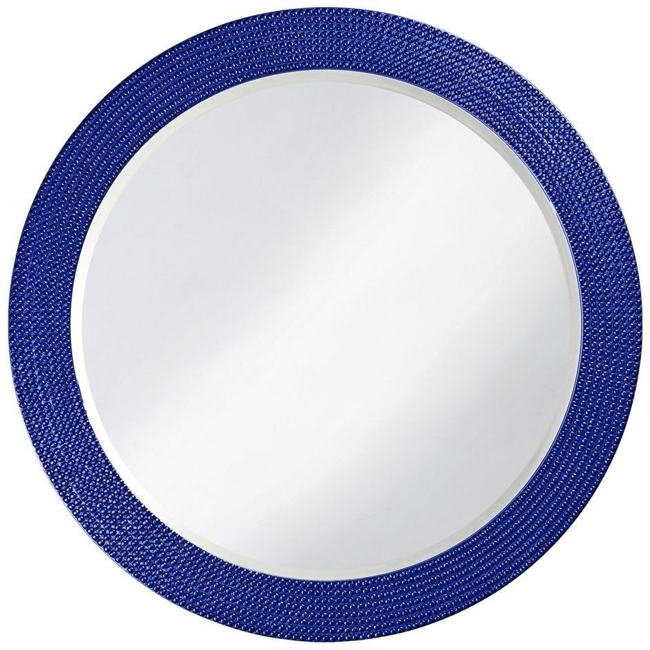Lancelot Royal Blue Round Mirror 2133rb Howard Elliot For Blue Round Mirror (Image 5 of 15)
