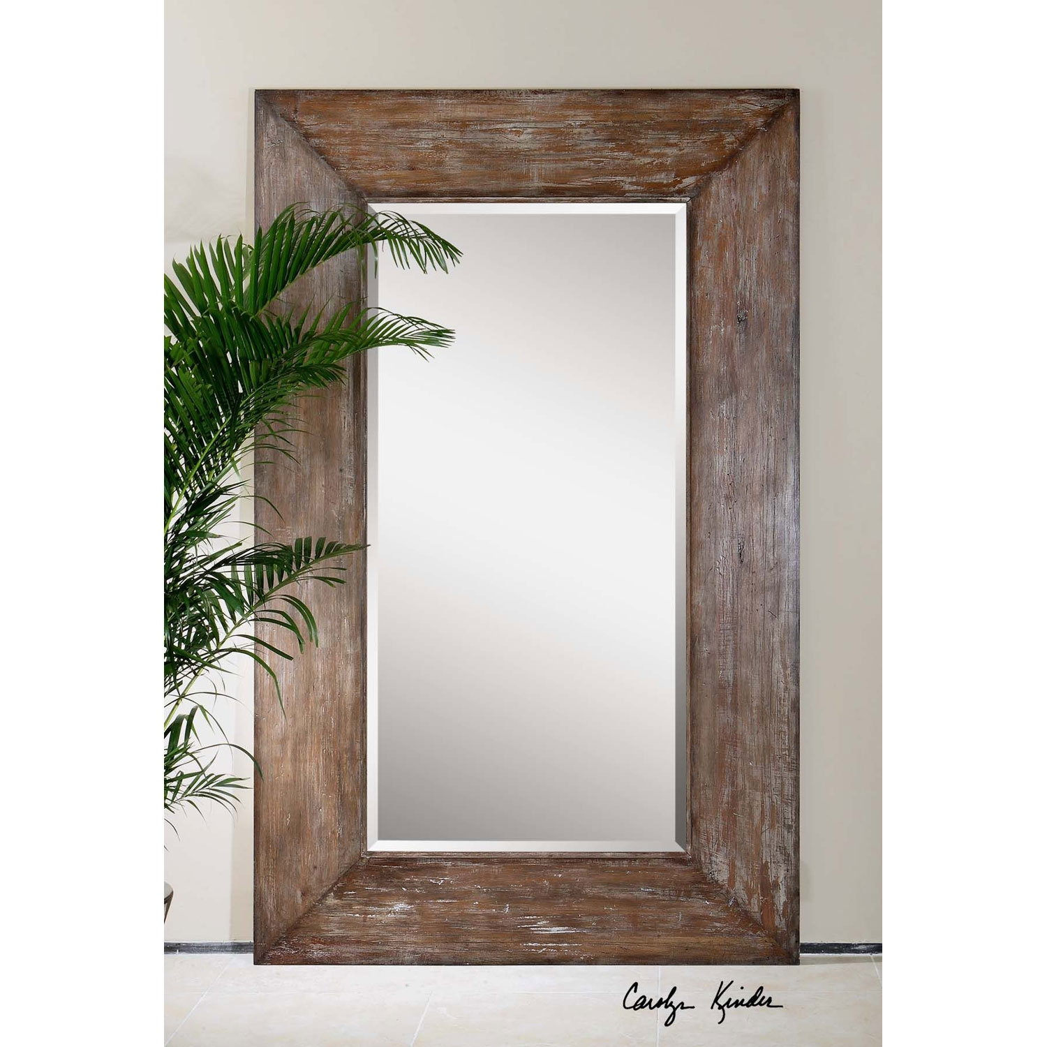 Langford Large Mirror Uttermost Rectangle Mirrors Home Decor Regarding Large Brown Mirror (Image 6 of 15)