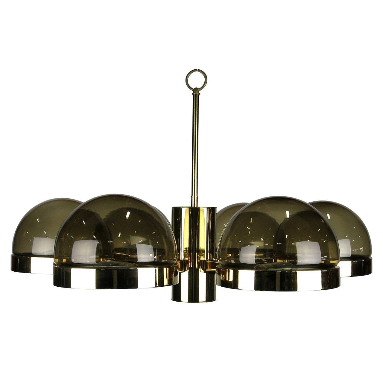 Large 1970s Mod Brass And Smoked Glass Chandelier For Sale At 1stdibs For Smoked Glass Chandelier (Image 9 of 15)