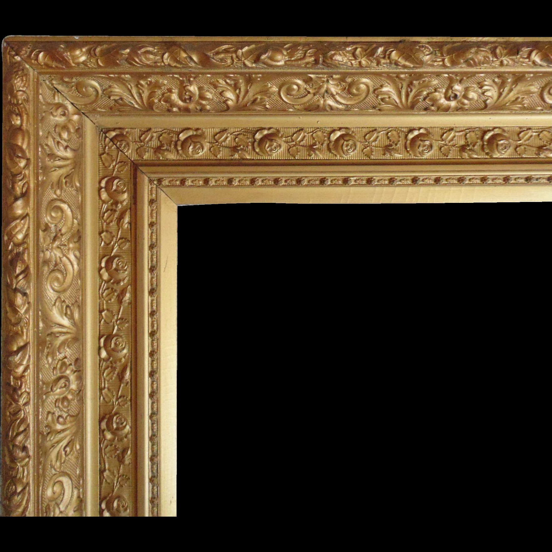 Large 19c Antique Picture Frame Gilt Wood Gesso Victorian Roses In Large Gold Antique Mirror (Image 8 of 15)