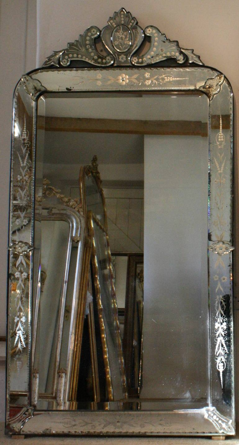 Large 19th Century Antique Venetian Mirror From Wwwjasperjacks Inside Antique Venetian Mirrors For Sale (Image 11 of 15)