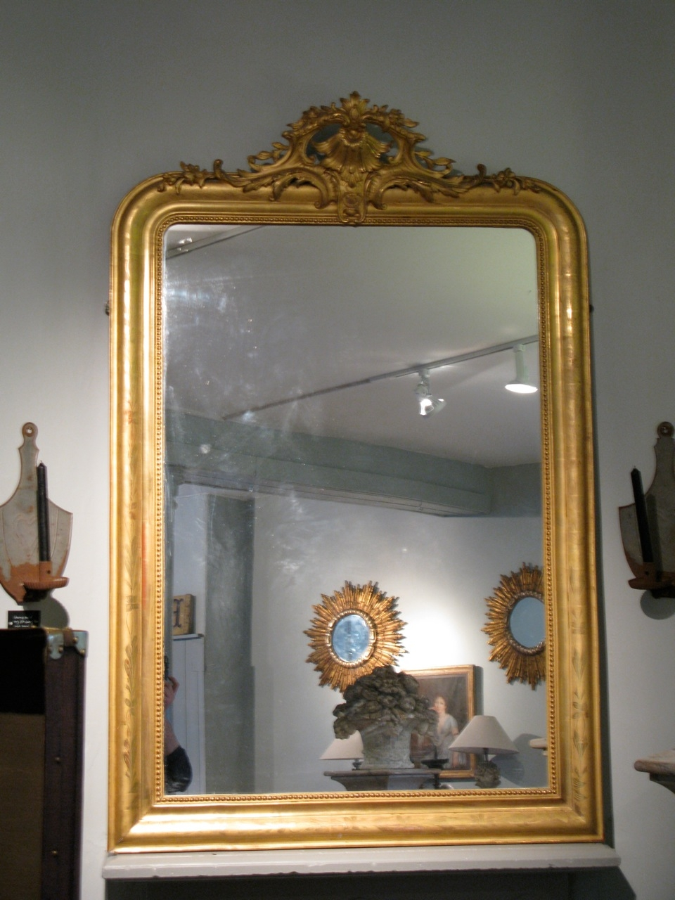 Large 19th Century French Gilded Mirror With Crest Paintings Intended For Large Gilt Framed Mirror (Image 9 of 15)