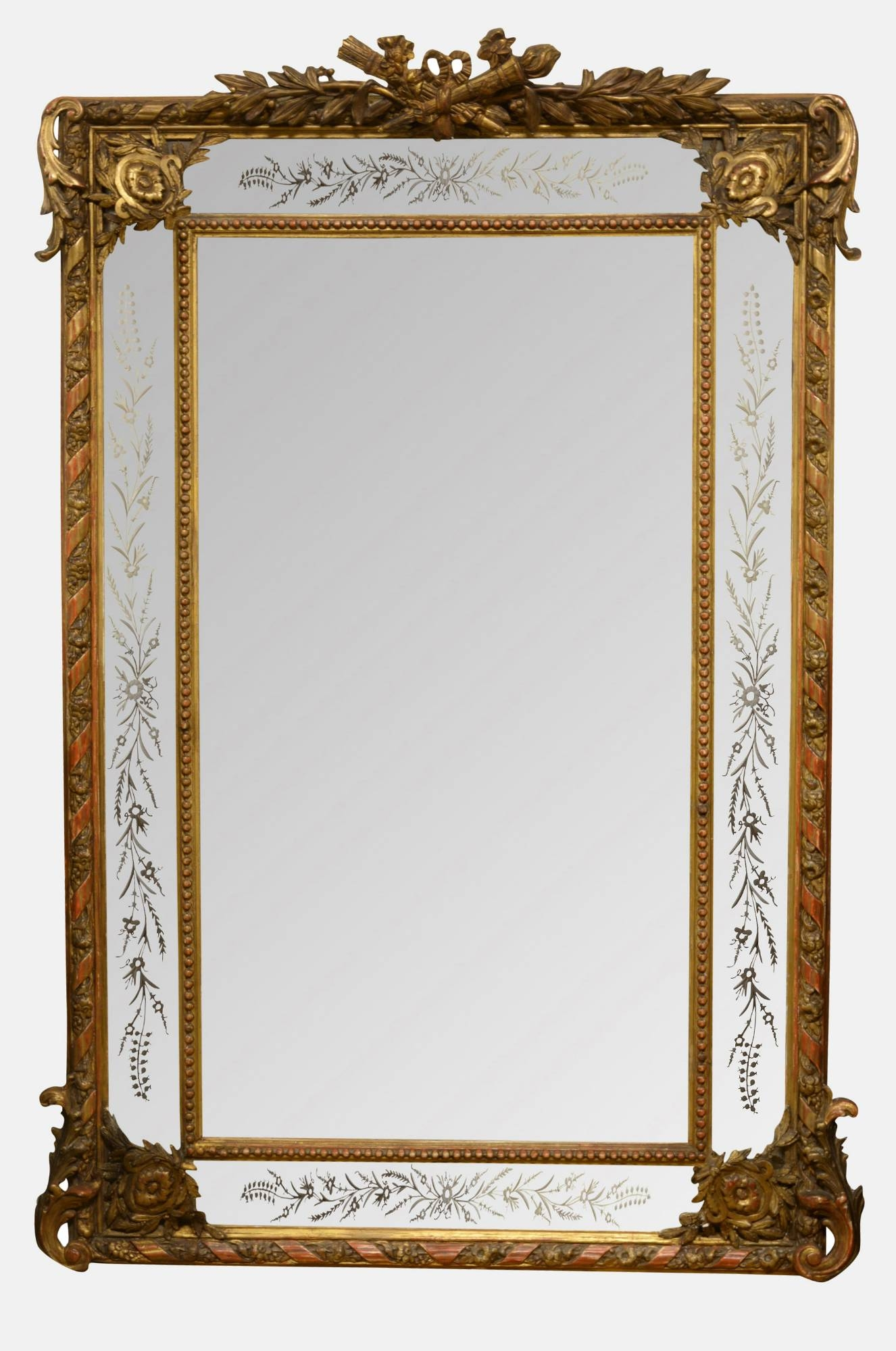 Large 19th Century French Gilt Framed Mirror C1880 Regarding Gilt Framed Mirror (Image 10 of 15)